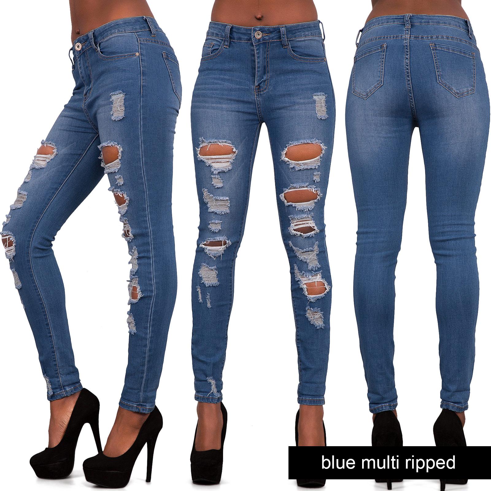 Womens Blue Ripped Skinny Jeans Ladies Jeggings Slim Fit Denim Size 6 8 10 12 14   eBay