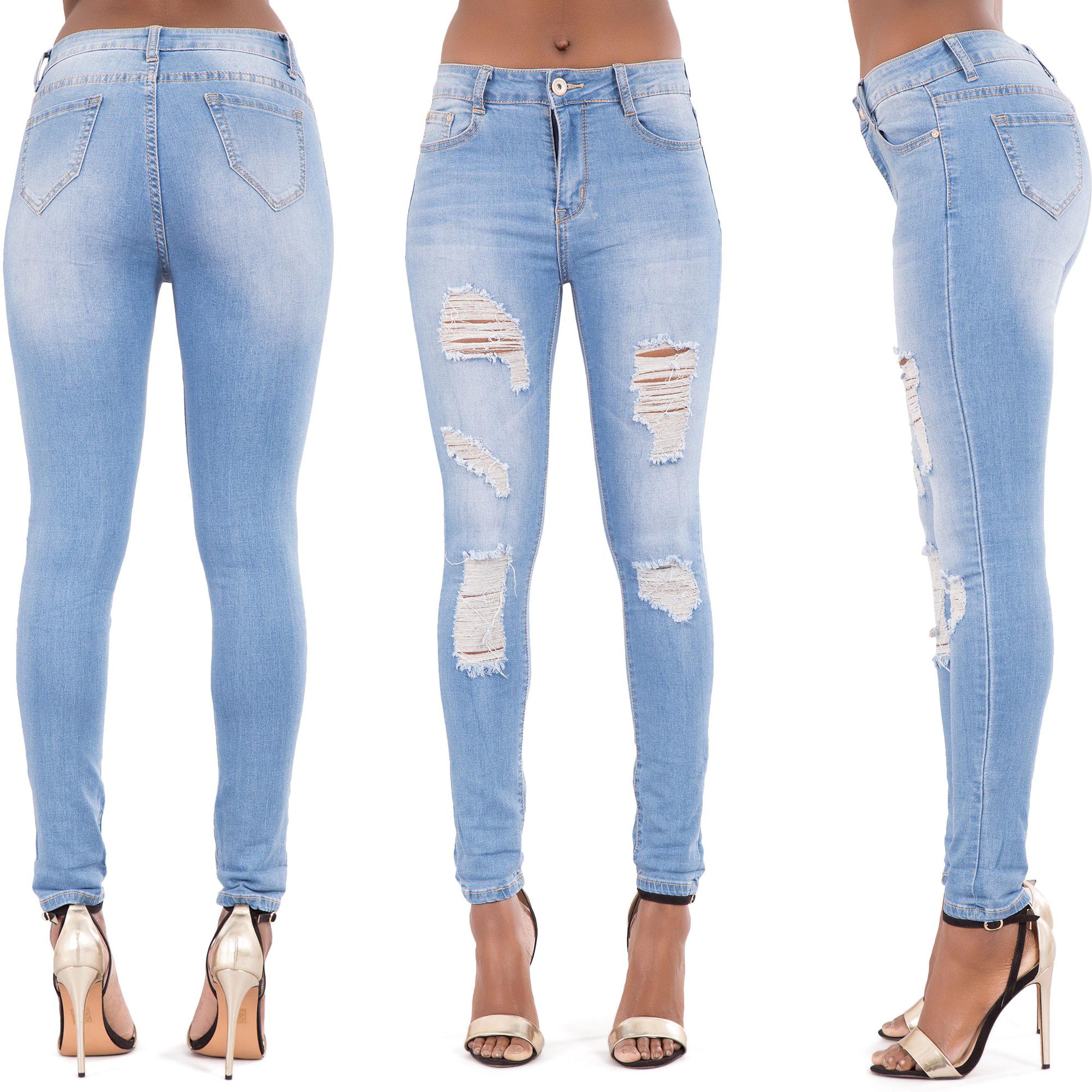 NEW-Ladies-Women-Blue-Black-Ripped-Skinny-Jeans-Slim-Fit-Stretch-Denim-Size-6-14