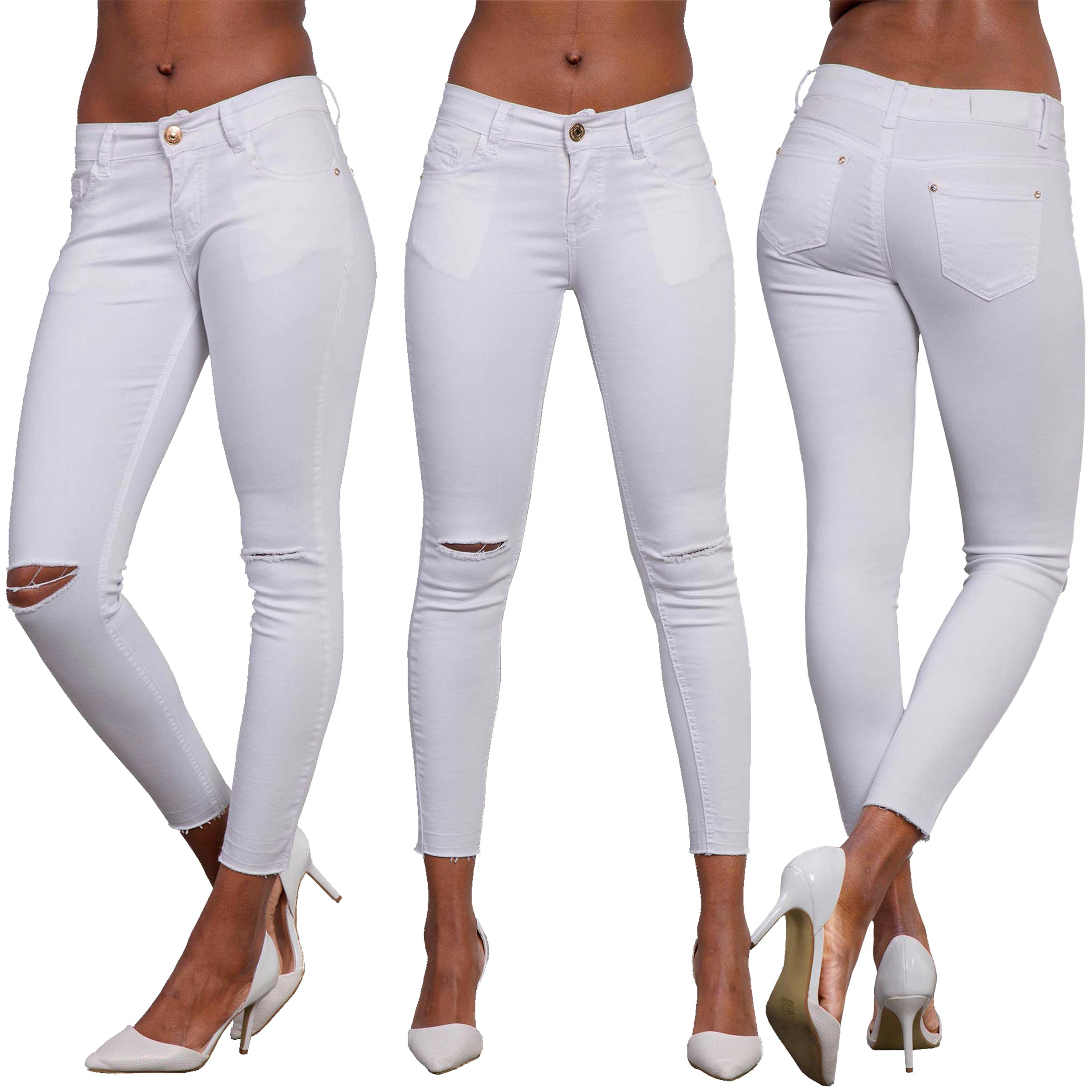 ead03ef58cd334 Details about Womens White Stretchy Skinny Jeans Ladies Ripped Knee  Jeggings Trousers Pants