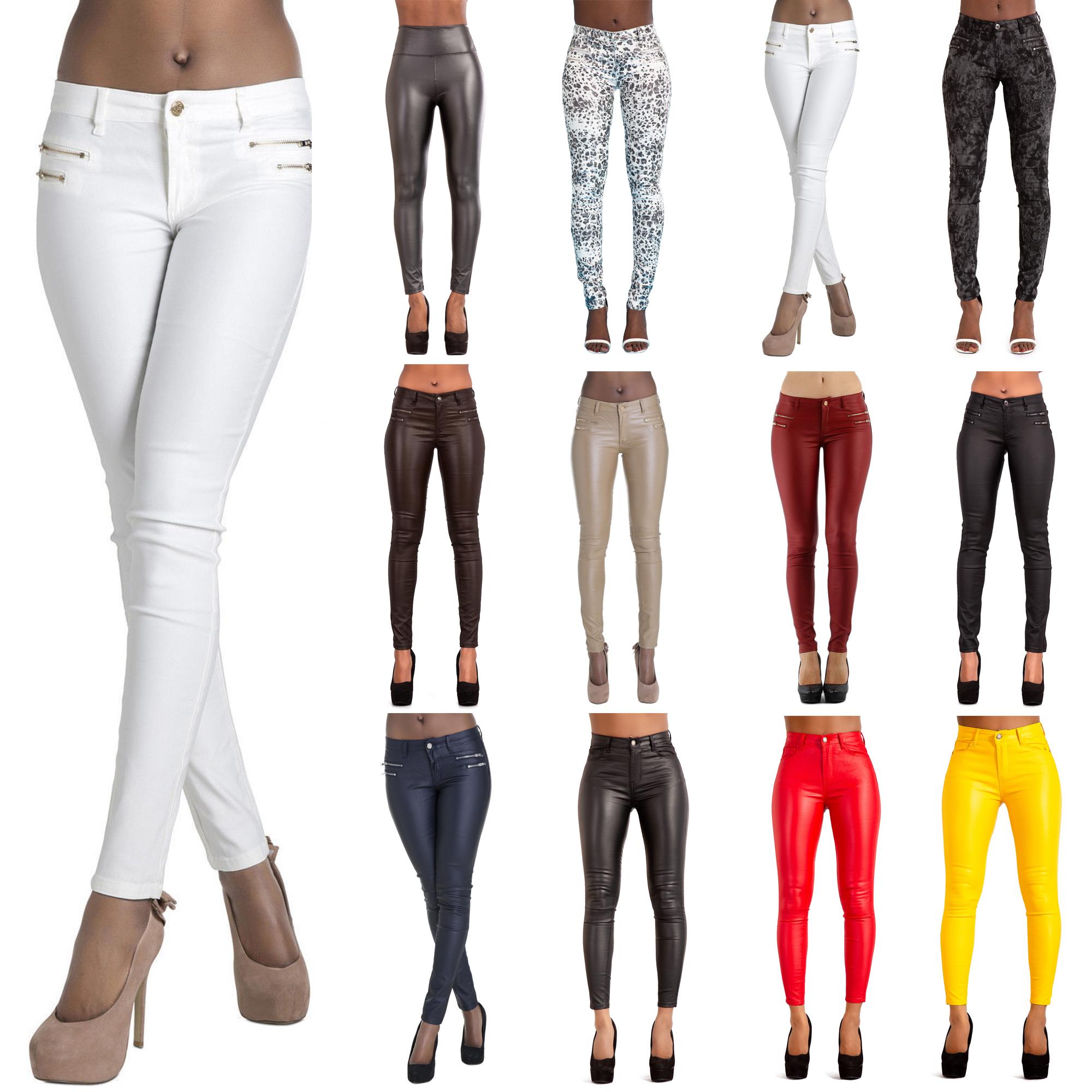 Women/'s Leggings Trousers Pants Slim Line Skinny Fit Ripped Leggings Casual UK