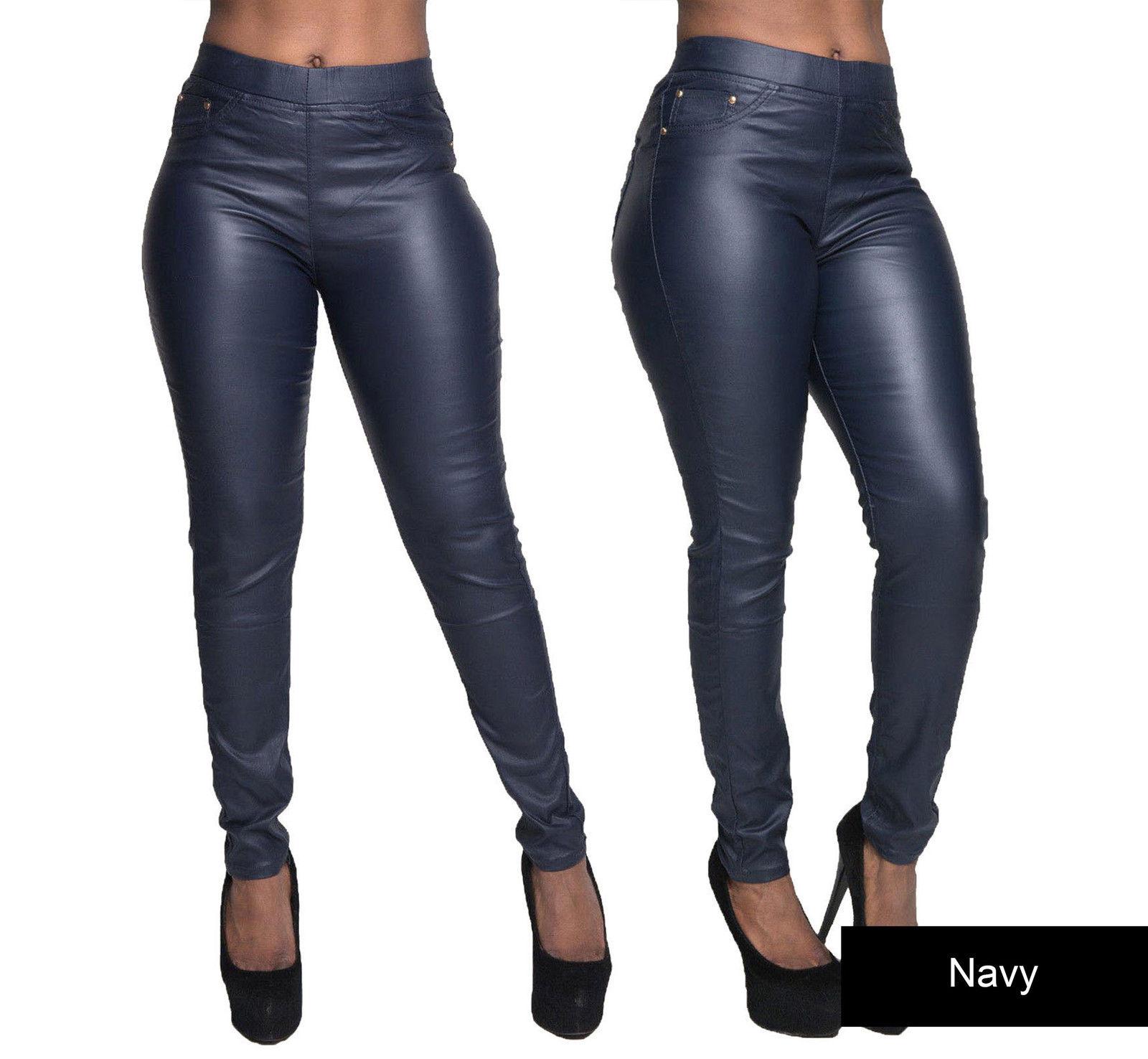 damen frauen lederoptik leggings wetlook hosen slim jeans. Black Bedroom Furniture Sets. Home Design Ideas