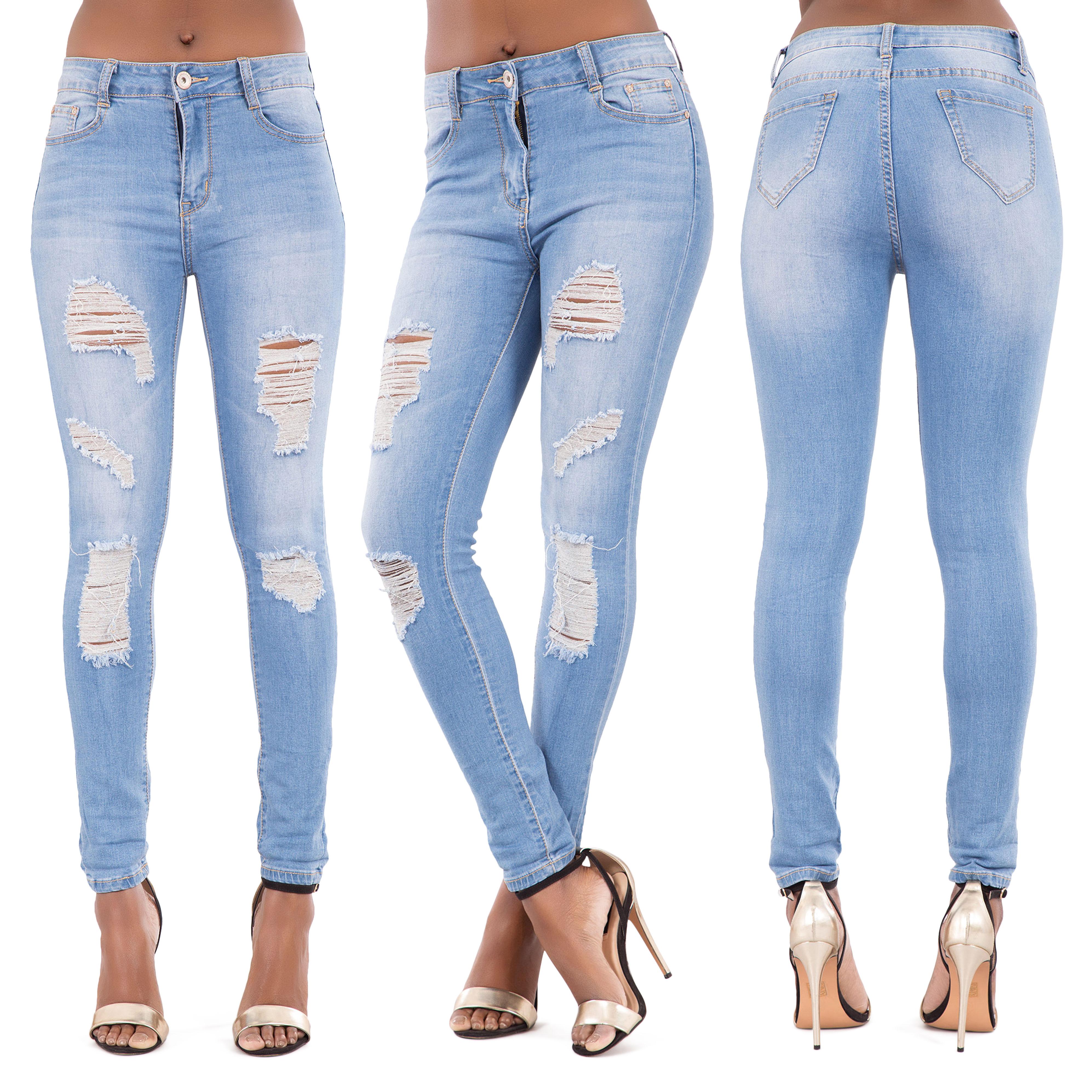 866d7e6252c Womens Blue Ripped Knee Cut Skinny Jeans Slim Fit Ladies Denim Size 6 8 10  12 14