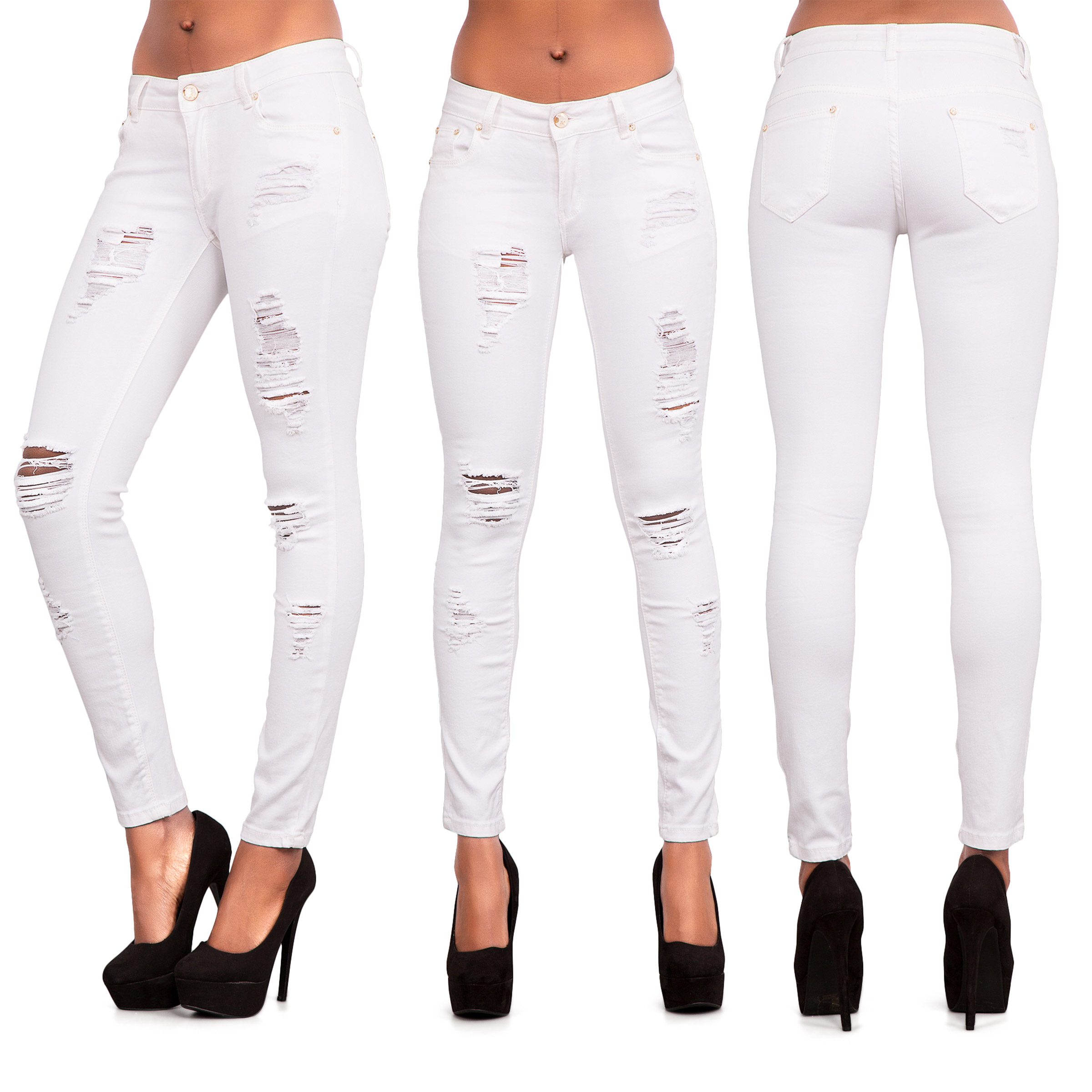 f0663215bc31 Womens Blue Ripped Knee Cut Skinny Jeans Slim Fit Ladies Denim Size 6 8 10  12 14