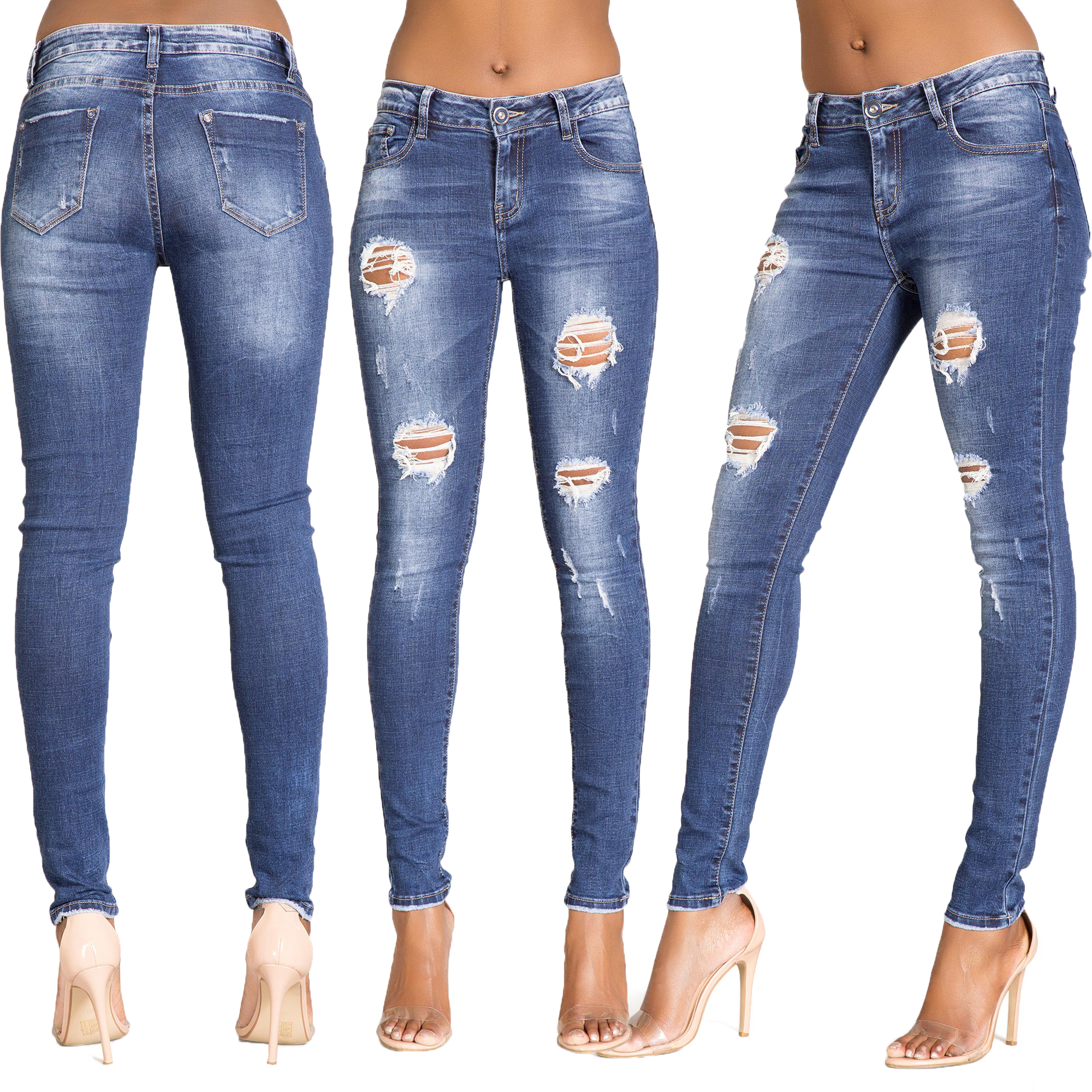 Womens Blue Ripped Knee Cut Skinny Jeans Slim Fit Ladies Denim Size 6 8 10  12 14 102f7f352e