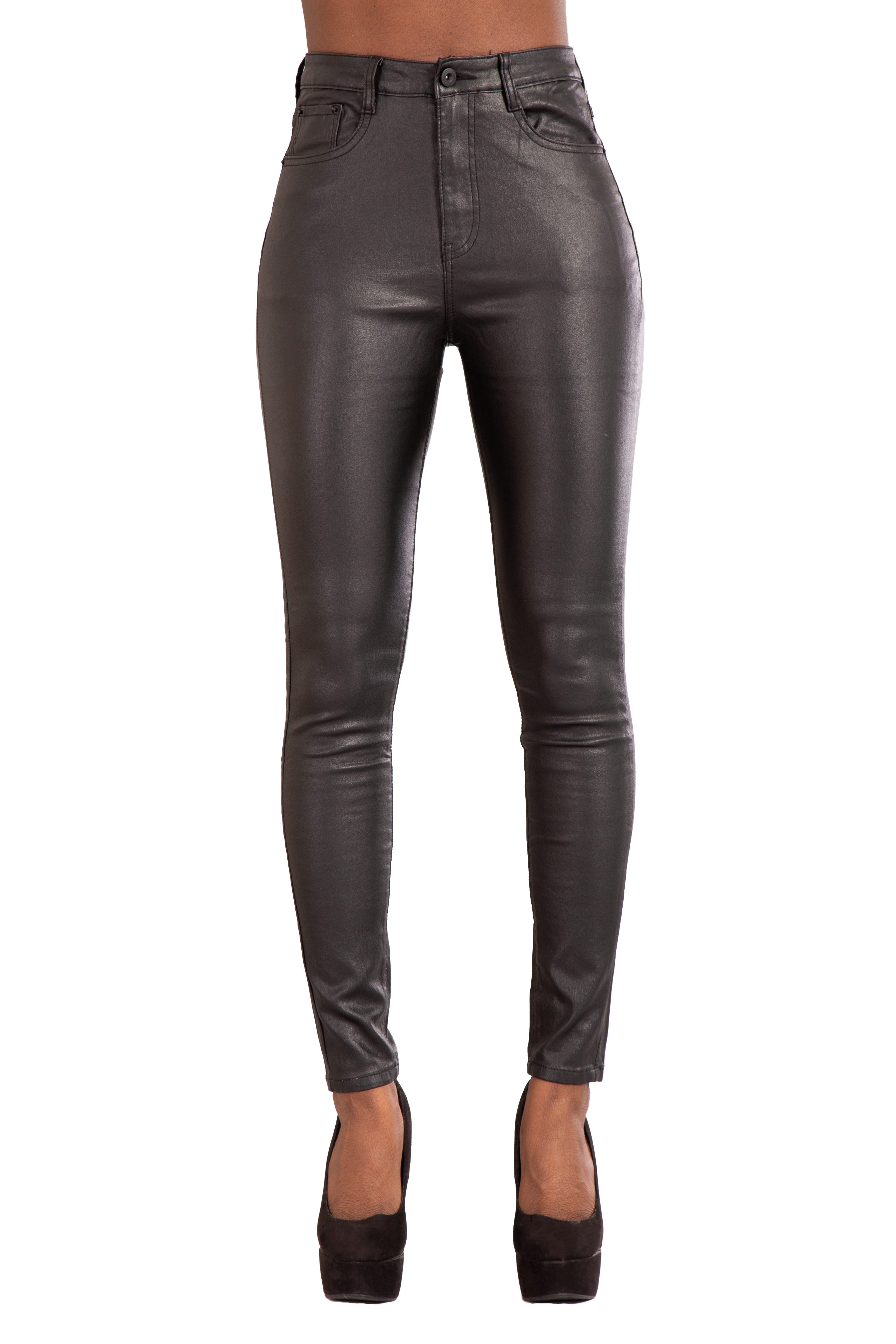 big collection new season great varieties Details about Women High Waist Leather Look Leggings Trousers Ladies Plus  Size Jeans Uk 10-20