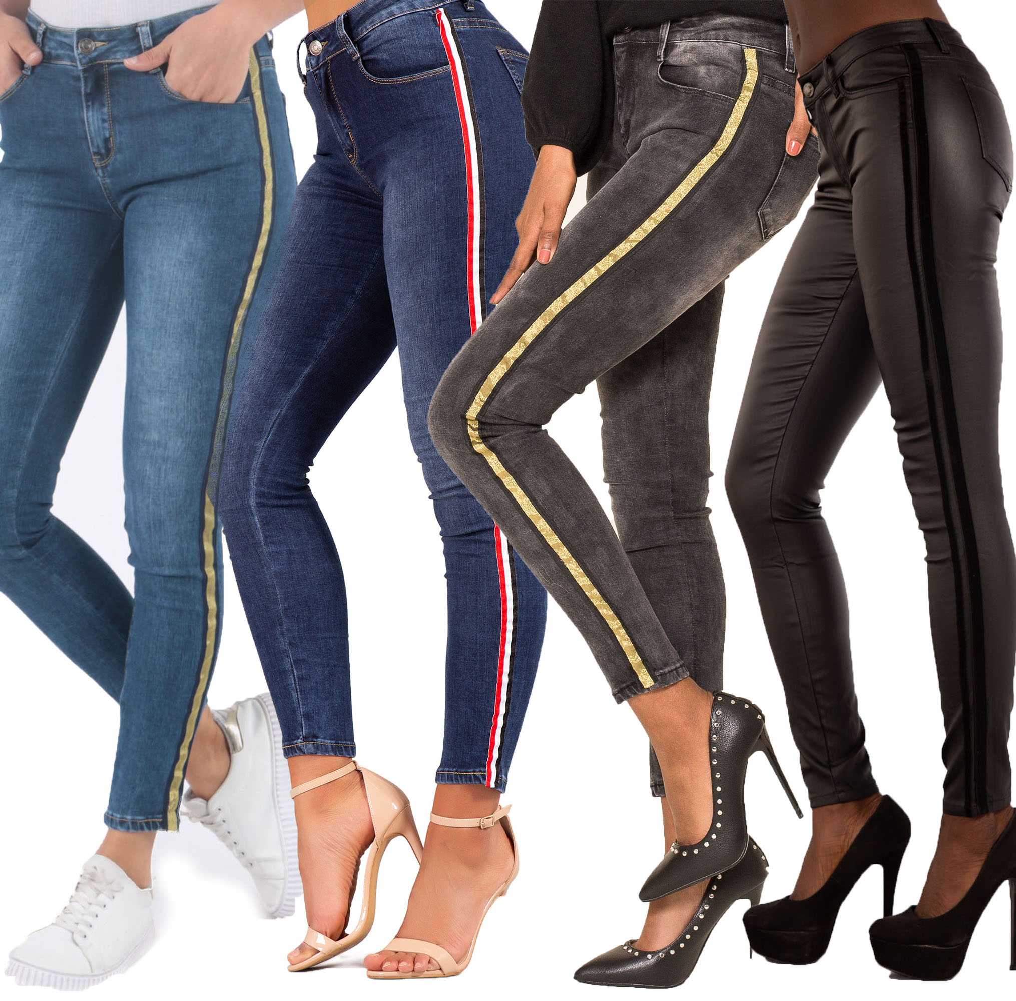 a73c67008a75 Details about New Womens High Waisted Slim Skinny Jeans Stretchy Side  Striped Pants Size 6-14