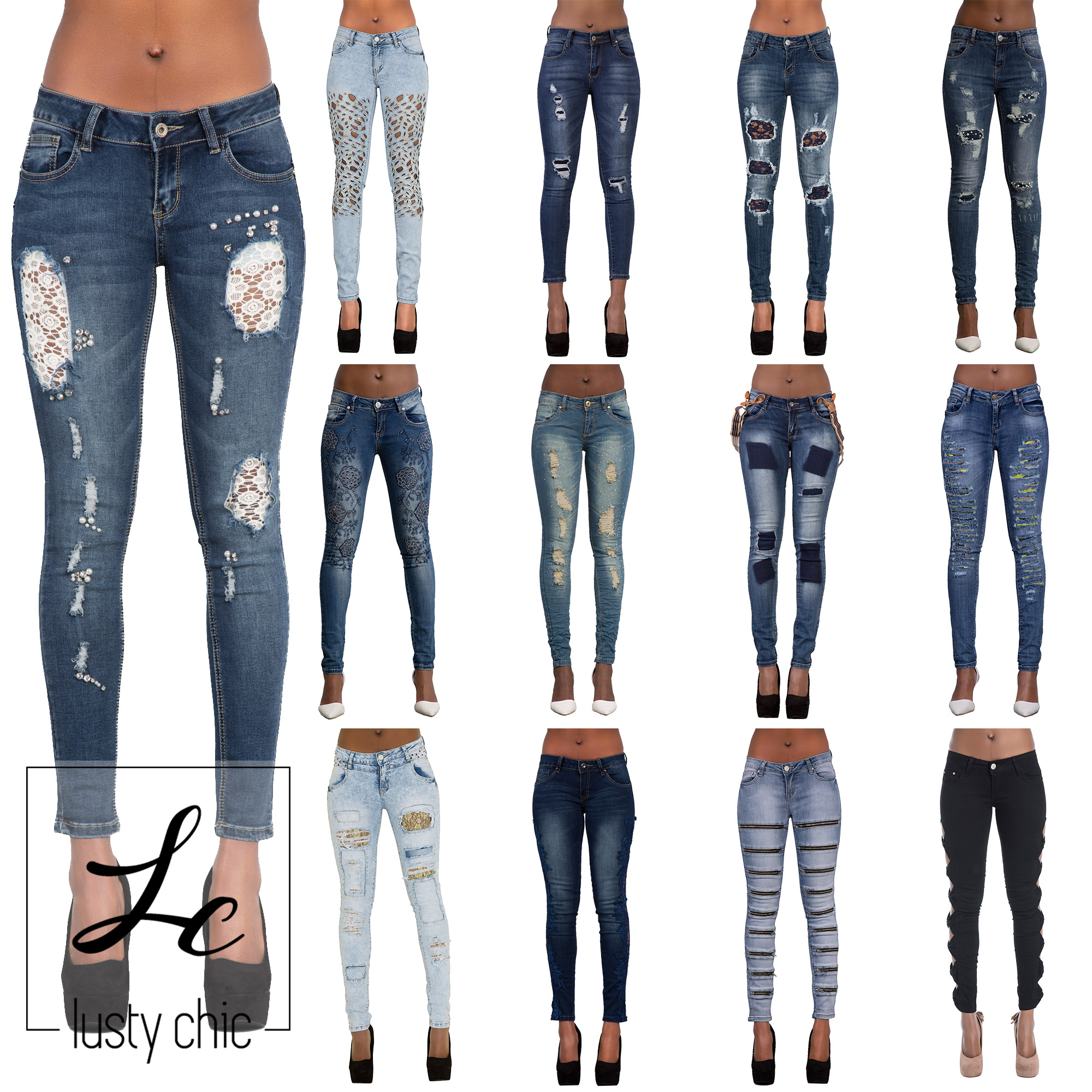 Womens Ladies Black Blue Skinny Ripped Lace Cut Out Bow Jeans Denim Size 6 14