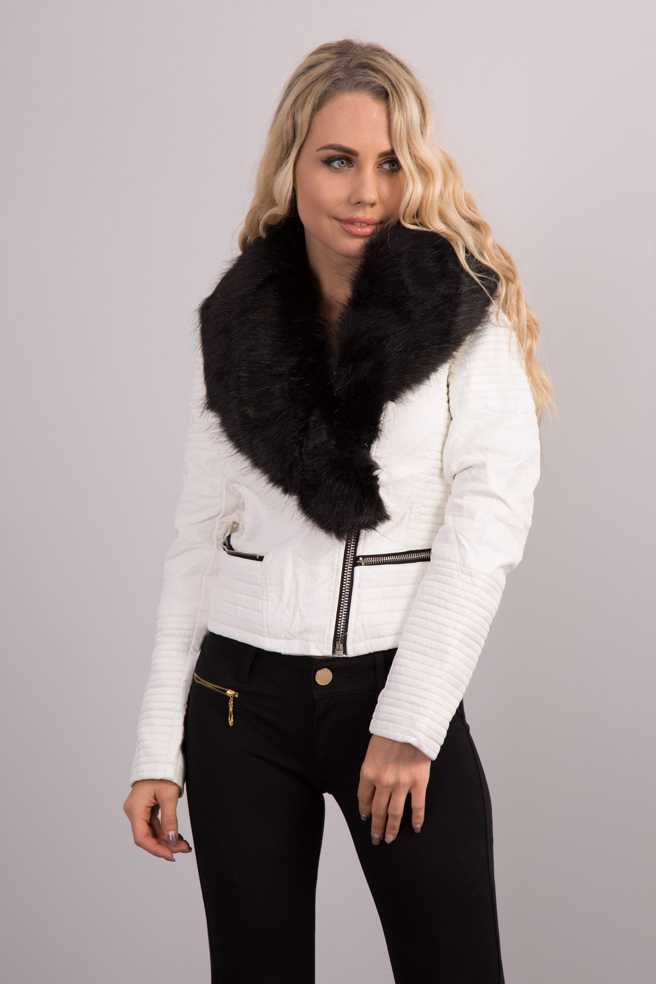 Womens Synthetic Leather Detachable Faux Fur Collar Sexy ...