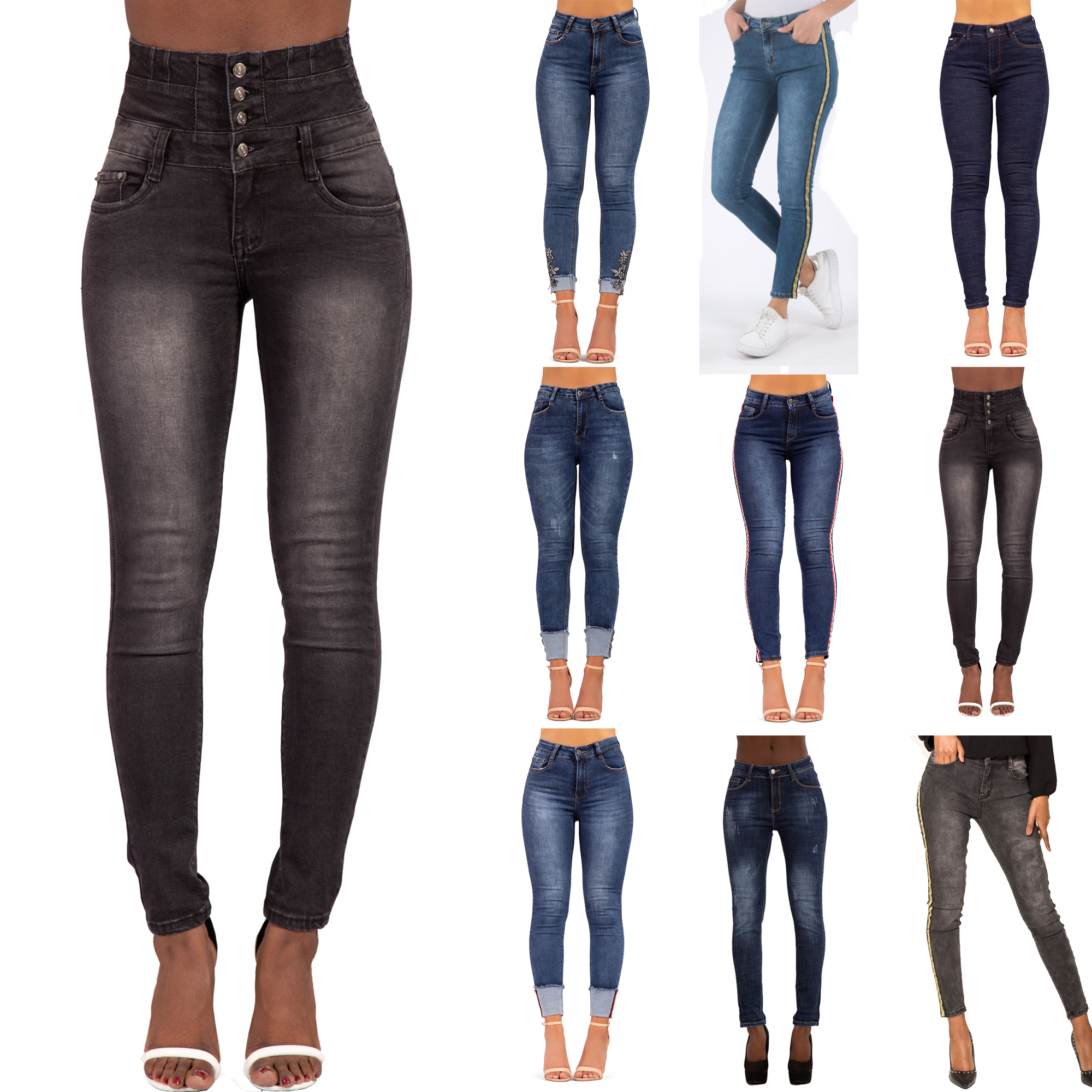 WOMENS HIGH WAISTED SKINNY JEANS STRETCH SKINNY HIGH RISE PANTS