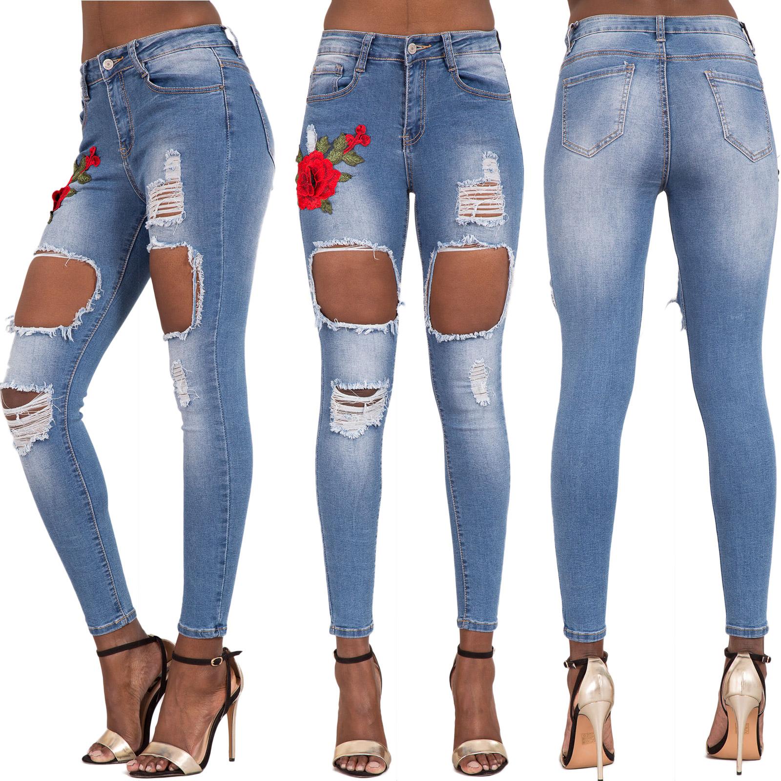 Womens Ripped Knee Skinny Jeans Faded Slim Fit Ladies Denim Size 6 8 10 12 14 16 | eBay