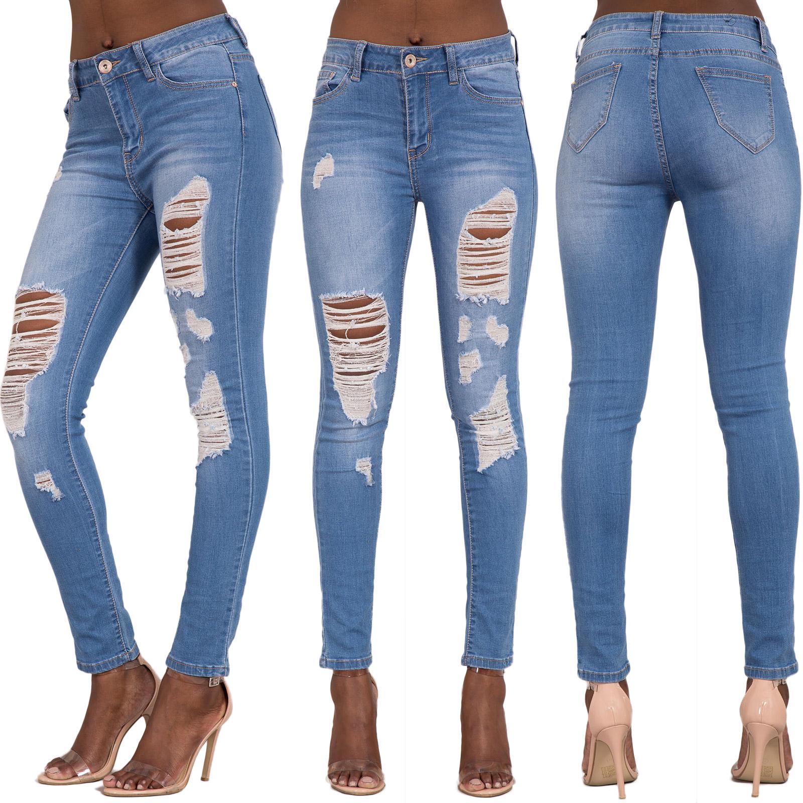 fa59f3b49b9 Womens Ripped Knee Skinny Jeans Faded Slim Fit Ladies Denim Size 6 ...