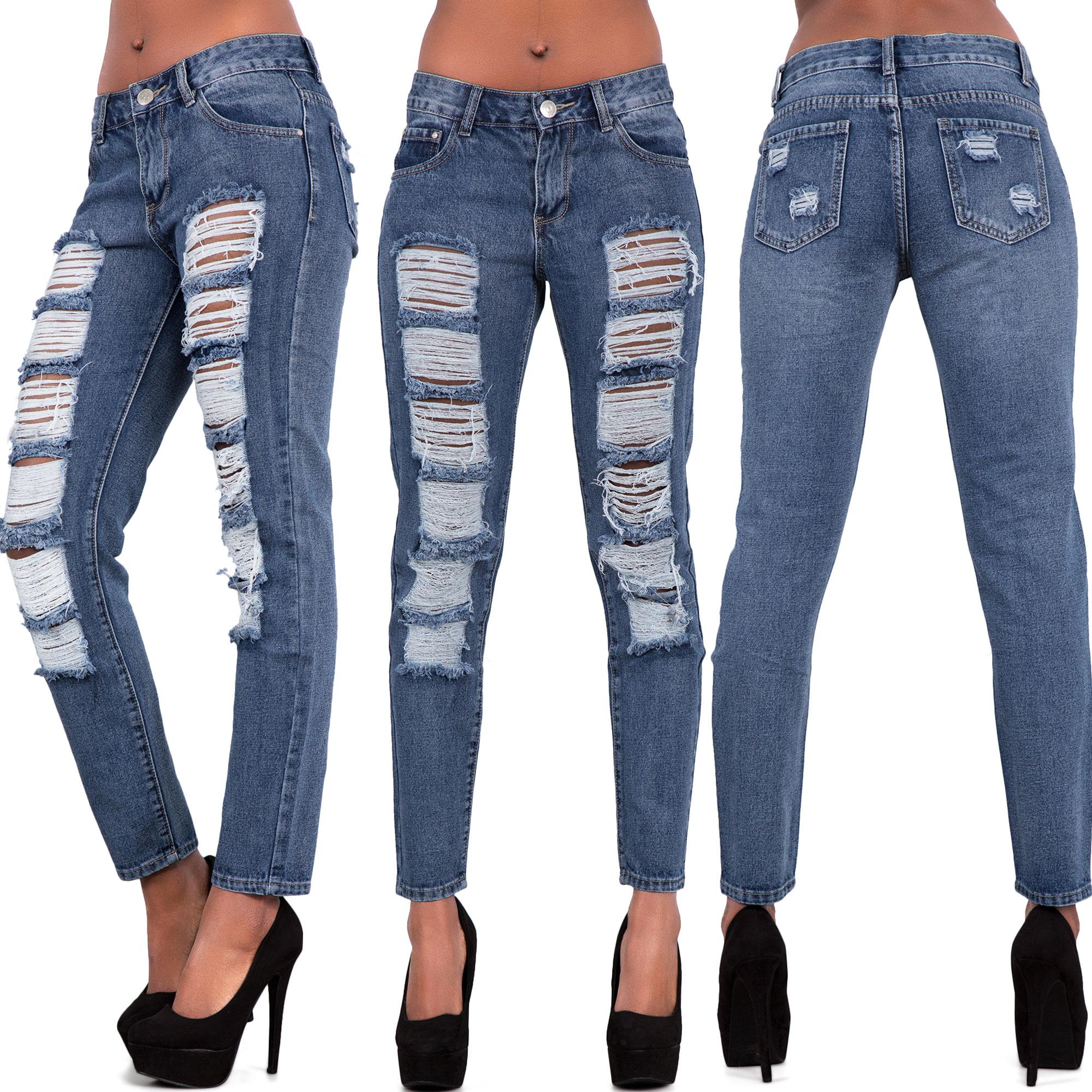 New-Womens-Ladies-Ripped-Skinny-Jeans-Slim-Fit-Denim-Pants-Size-6-8-10-12-14-16