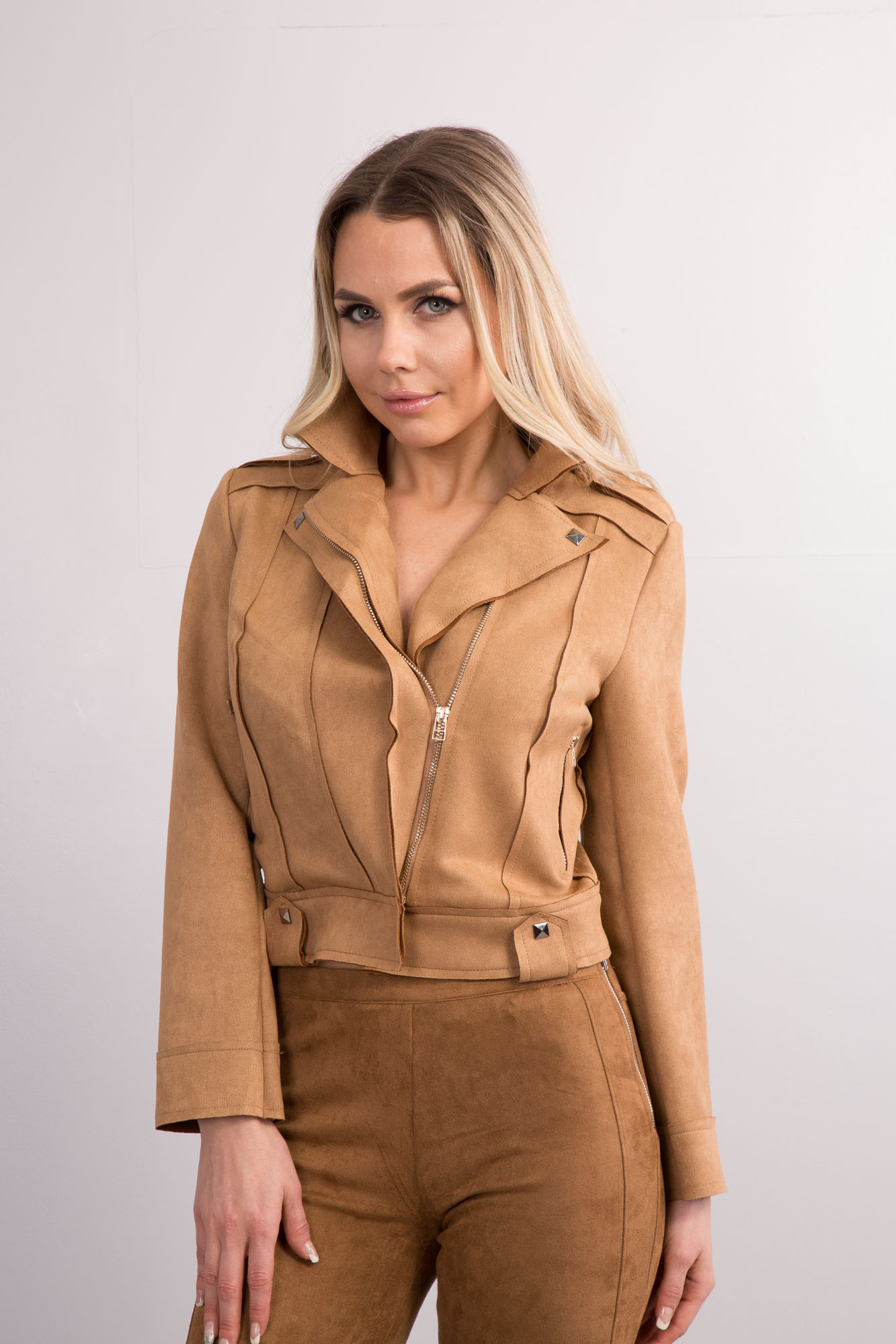 Womens Brown Camel Faux Suede Leather Look Jacket Ladies ...