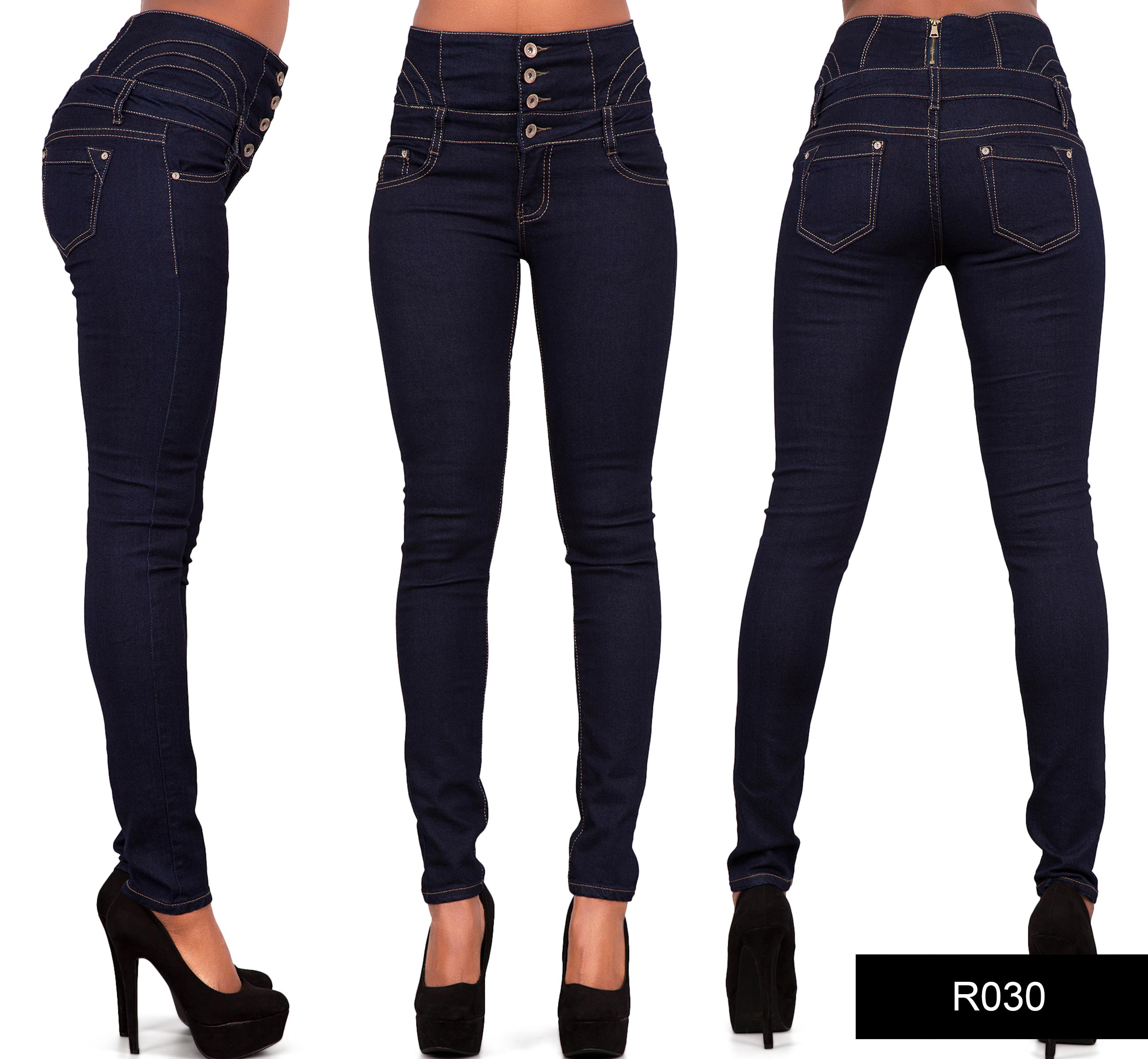 Womens Ladies Sexy High Waist Skinny Jeans Blue Stretch ...