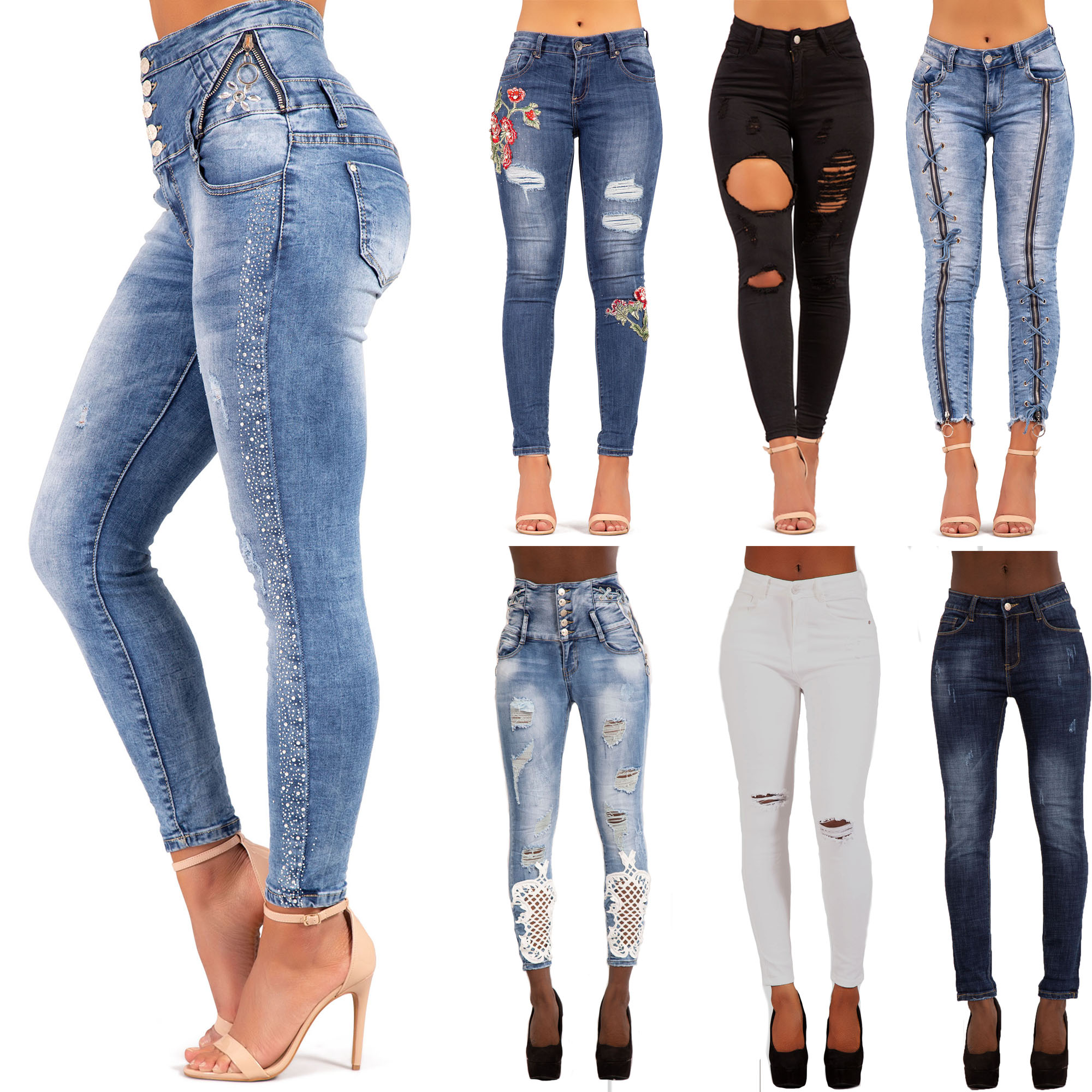 online here sneakers for cheap authorized site WOMENS HIGH WAISTED RIPPED SKINNY JEANS STRETCH SKINNY HIGH RISE ...
