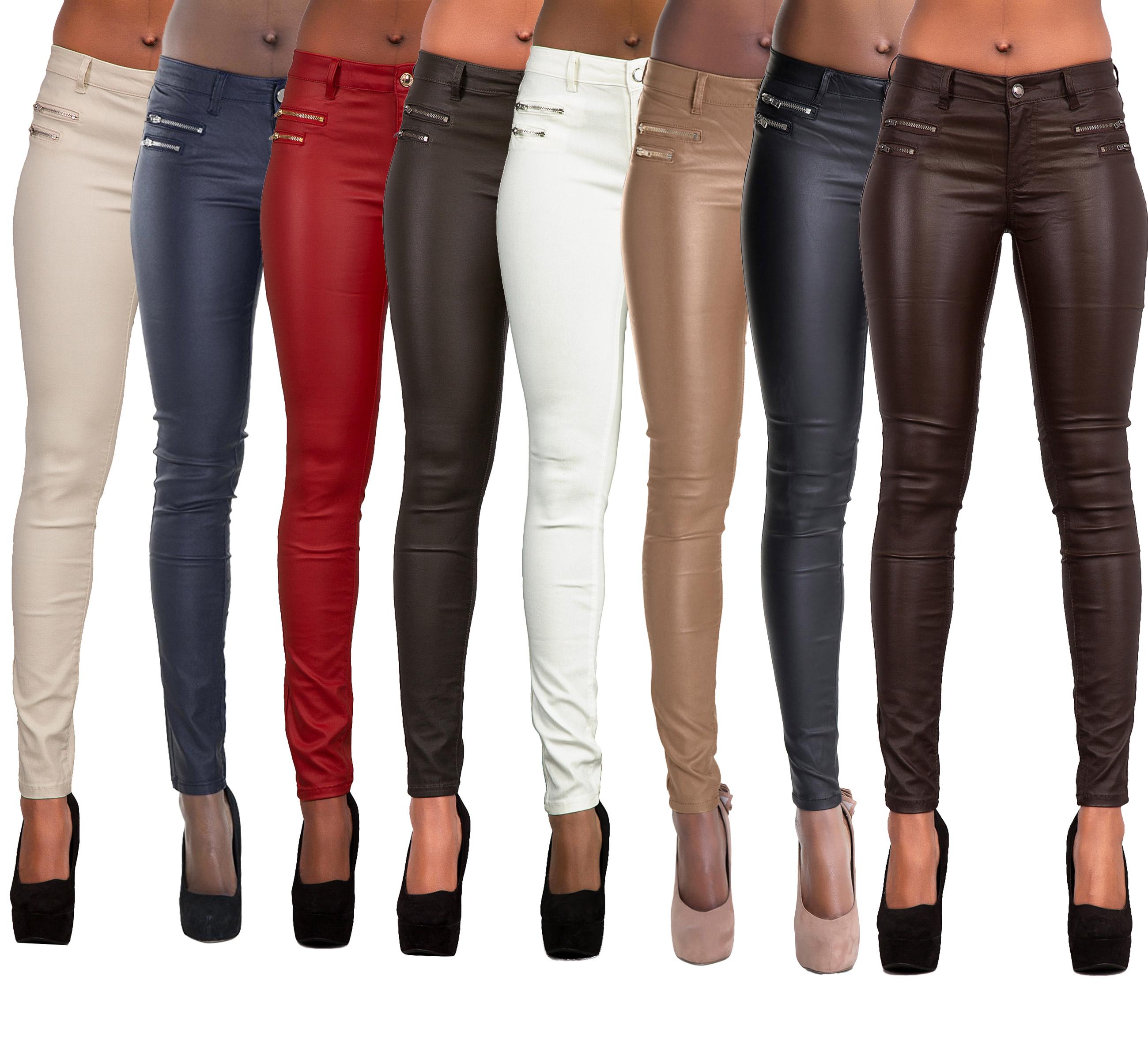 Womens Leather Look Trousers ladies Wet Look Leggings Skinny Pants Size 6-16