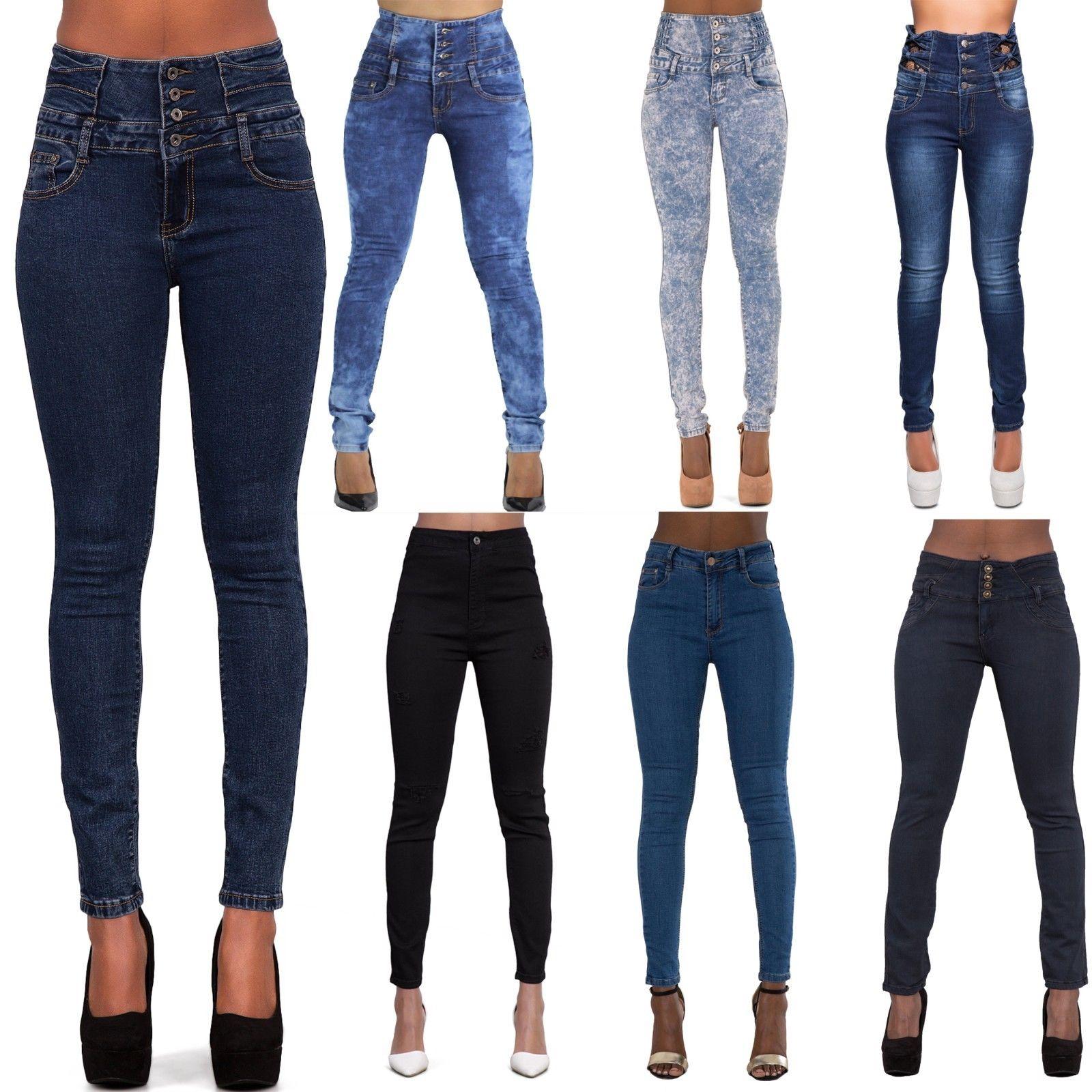 Abbigliamento Denim La vendita delle donne vita alta Jeans Donna Stretch Denim skinny slim Pantaloni Taglia 6-16