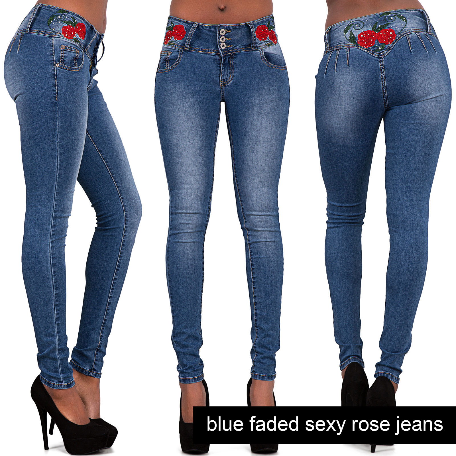 NEW-WOMENS-LADIES-RIPPED-JEANS-SEXY-SKINNY-FIT-BLUE-EMBROIDERED-DENIM-SIZE-6-14