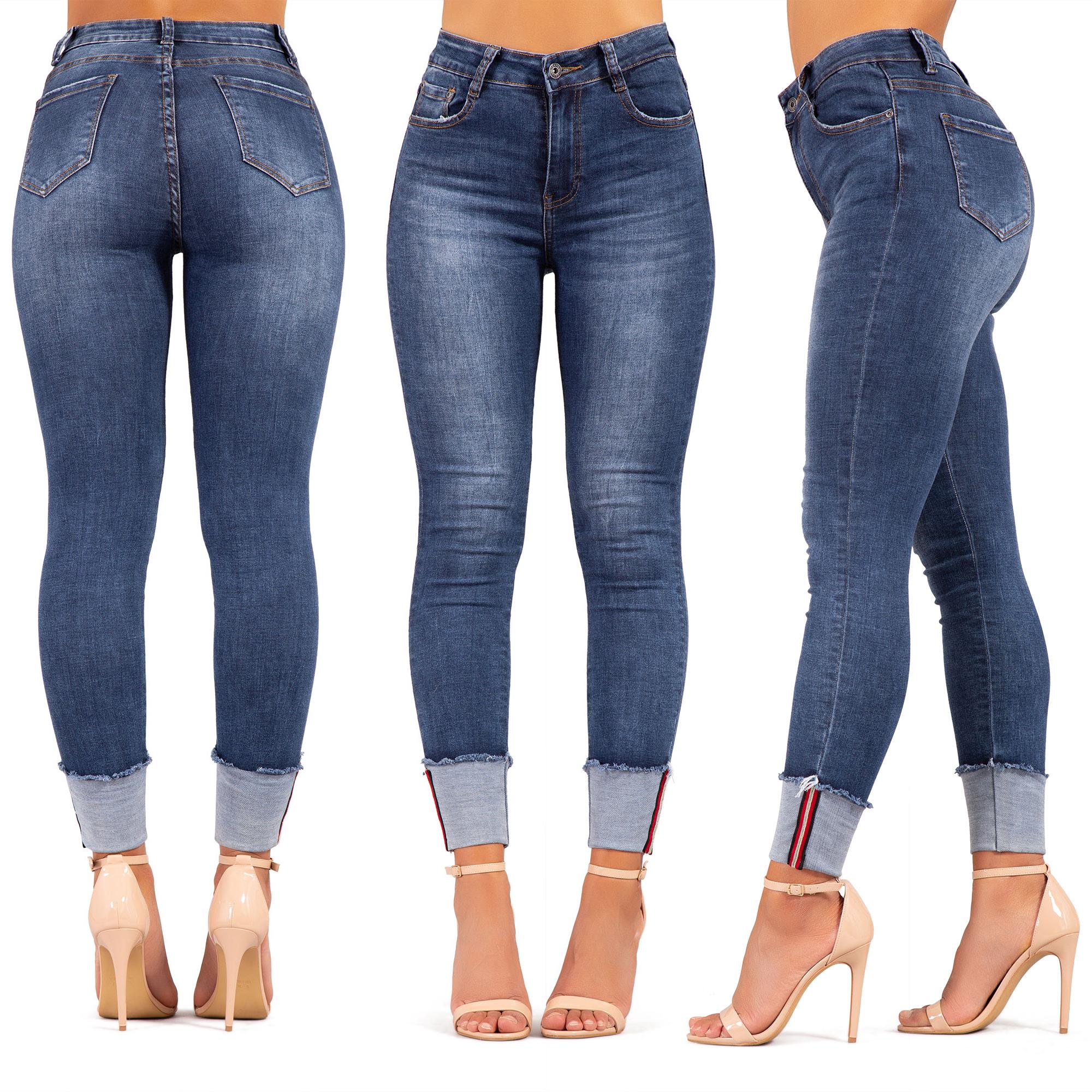 Womens High Waist Jeans Ladies Denim Skinny Jeans Stretch Jeggings Size 6-14