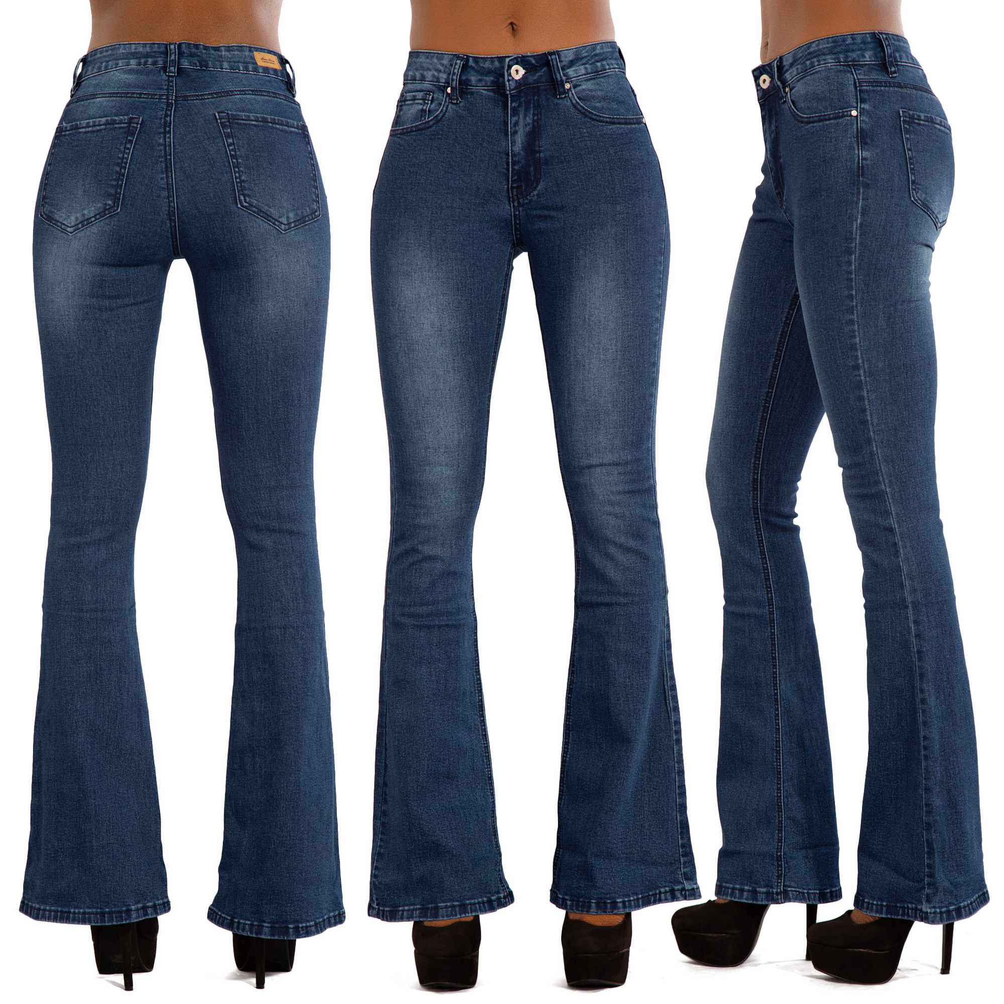 Details about Womens Flare Jeans Ladies Blue Bootcut Denim Bell Bottom Stretch Pants Size 6 14