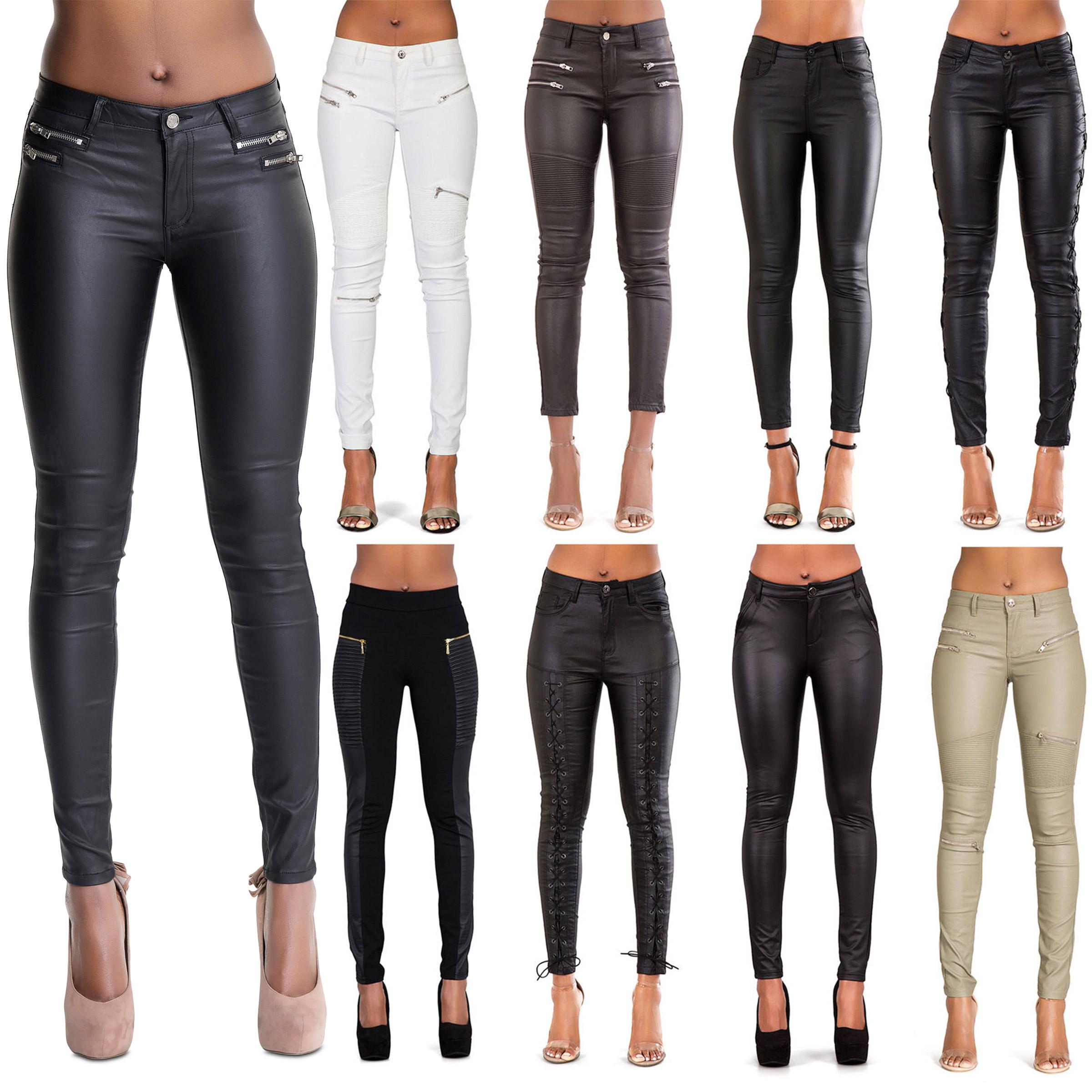 fbd0ad57dc2 WOMEN LEATHER LOOK LEGGINGS TROUSERS BLACK WET LOOK JEANS SIZE 6 8 10 12 14  16