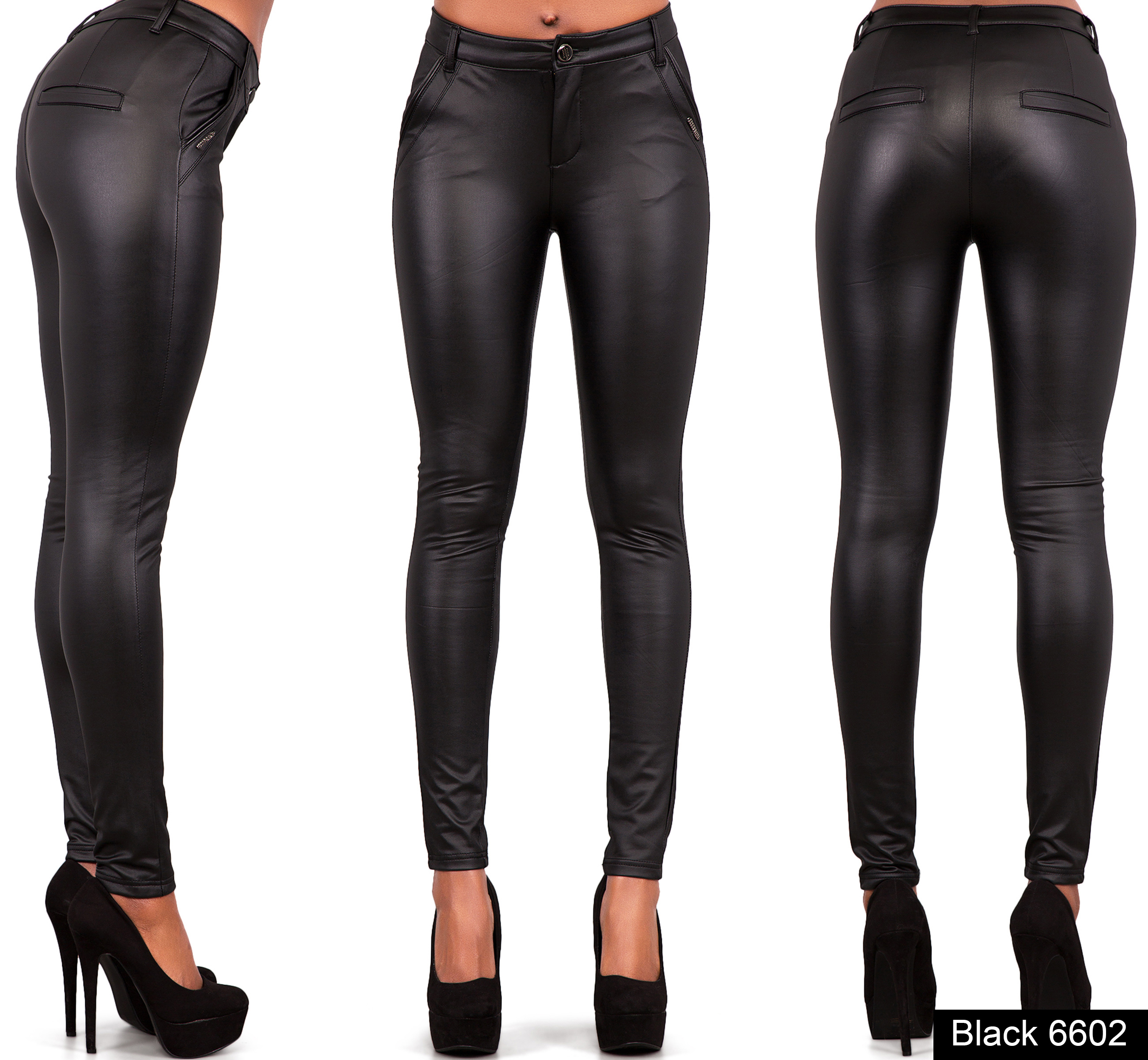 WOMEN LEATHER LOOK LEGGINGS TROUSERS BLACK WET LOOK JEANS ...