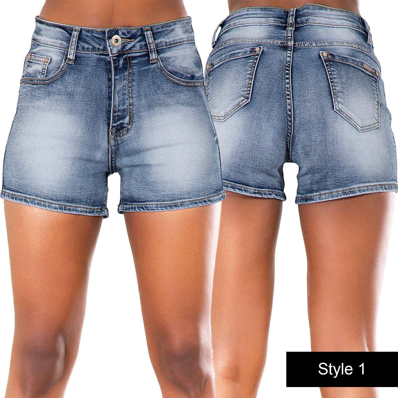 Ladies-Womens-Blue-Denim-High-Waisted-Shorts-Jeans-Hotpants-6-8-10-12-14