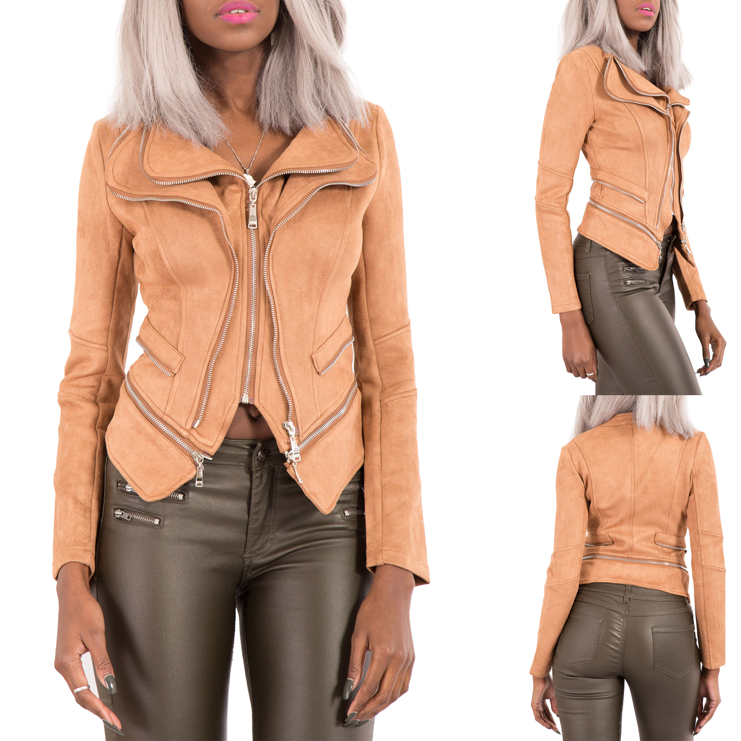 NEW-WOMEN-LEATHER-BIKER-JACKET-QUILTED-PANEL-White-Black-Red-Coat-Size-6-14