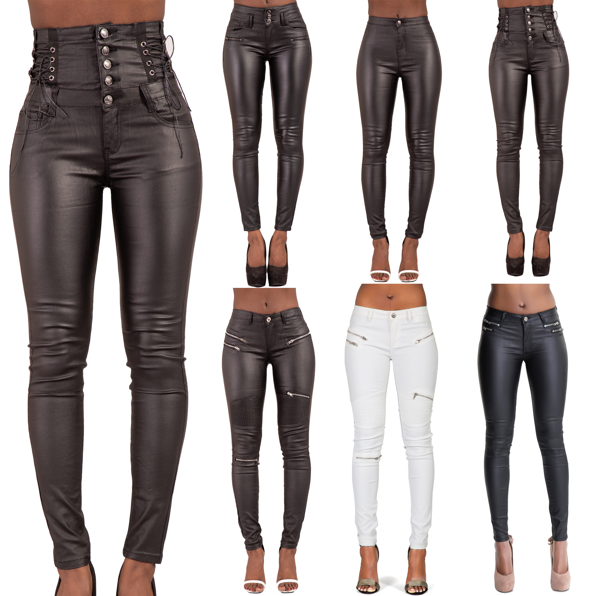 b5b59881534b WOMEN HIGH WAIST LEATHER LOOK TROUSERS LADIES WET LOOK JEANS SIZE 6 8 10 12  14