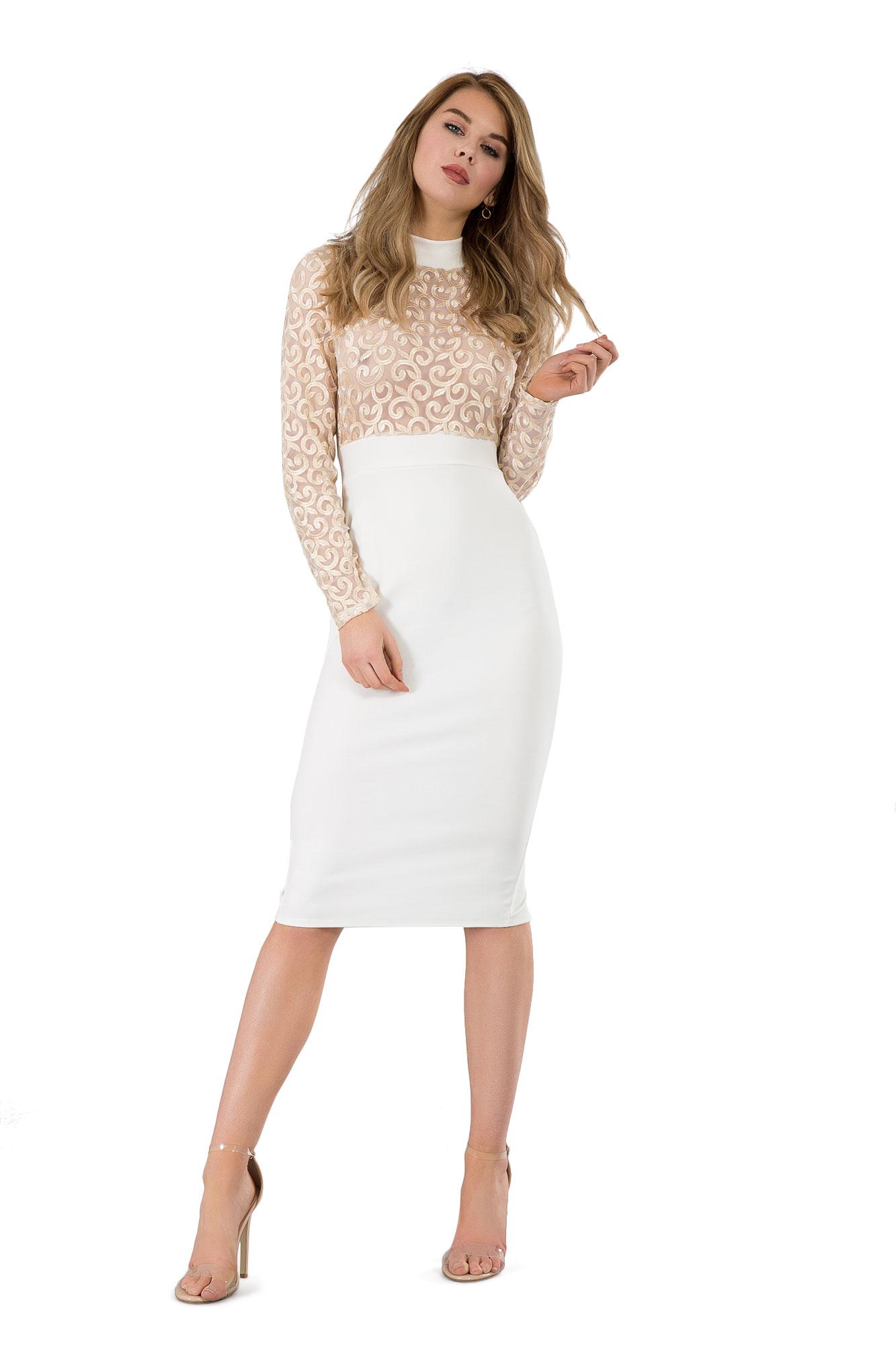 New Womens Stunning Front Split Funnel Neck Bodycon Midi Dress Size 6-14 UK