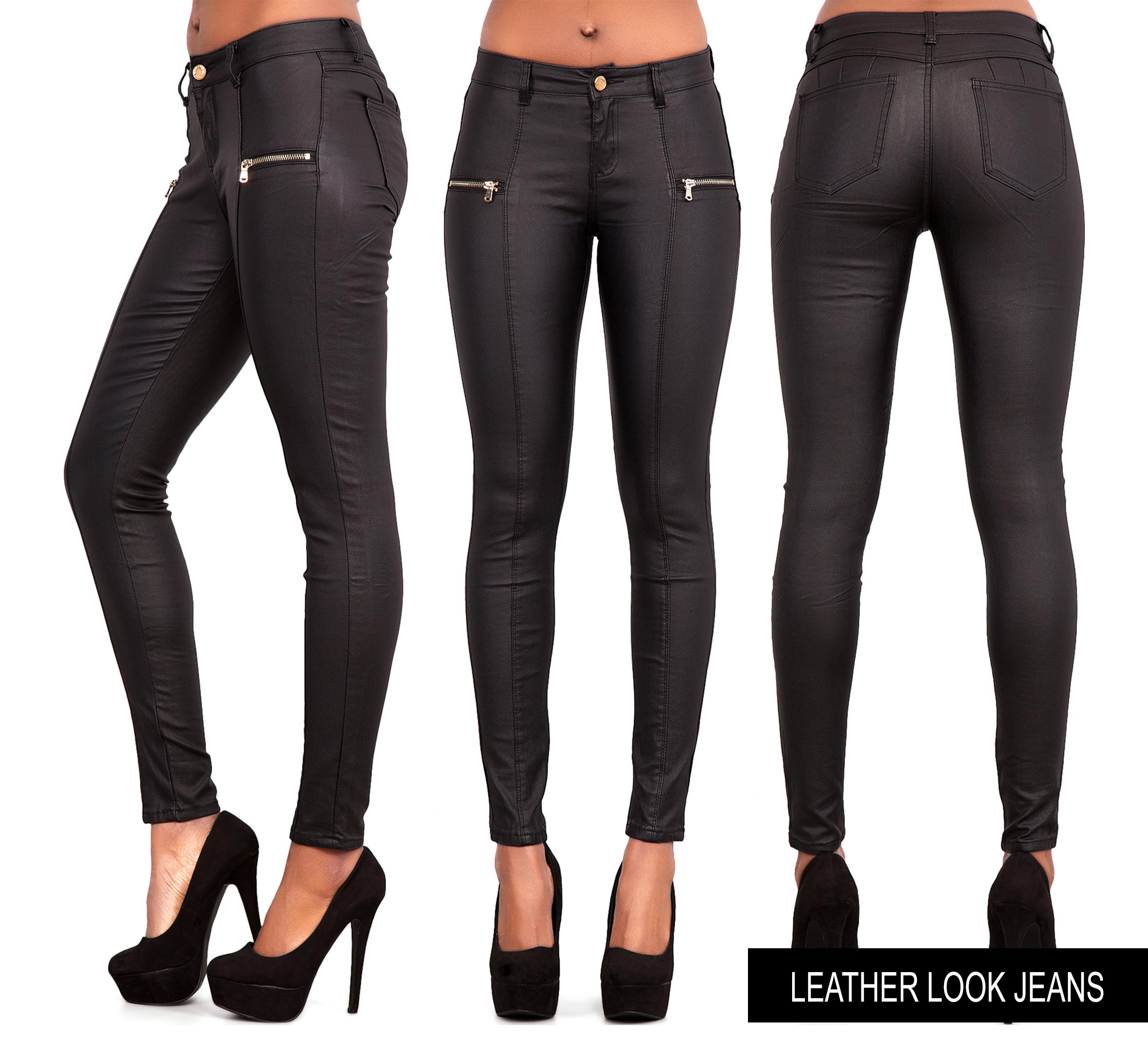 new womens leather look jeans sexy trousers ladies black slim fit size 6 22 ebay. Black Bedroom Furniture Sets. Home Design Ideas