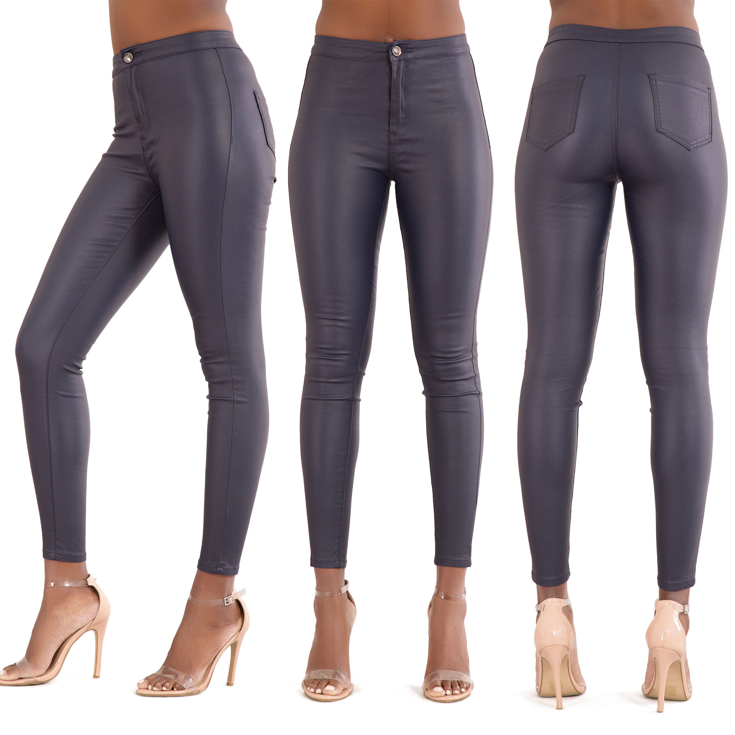 NEW WOMENS LEATHER LOOK JEANS SEXY TROUSERS LADIES BLACK SLIM FIT SIZE 6-22 6b1e8ea39