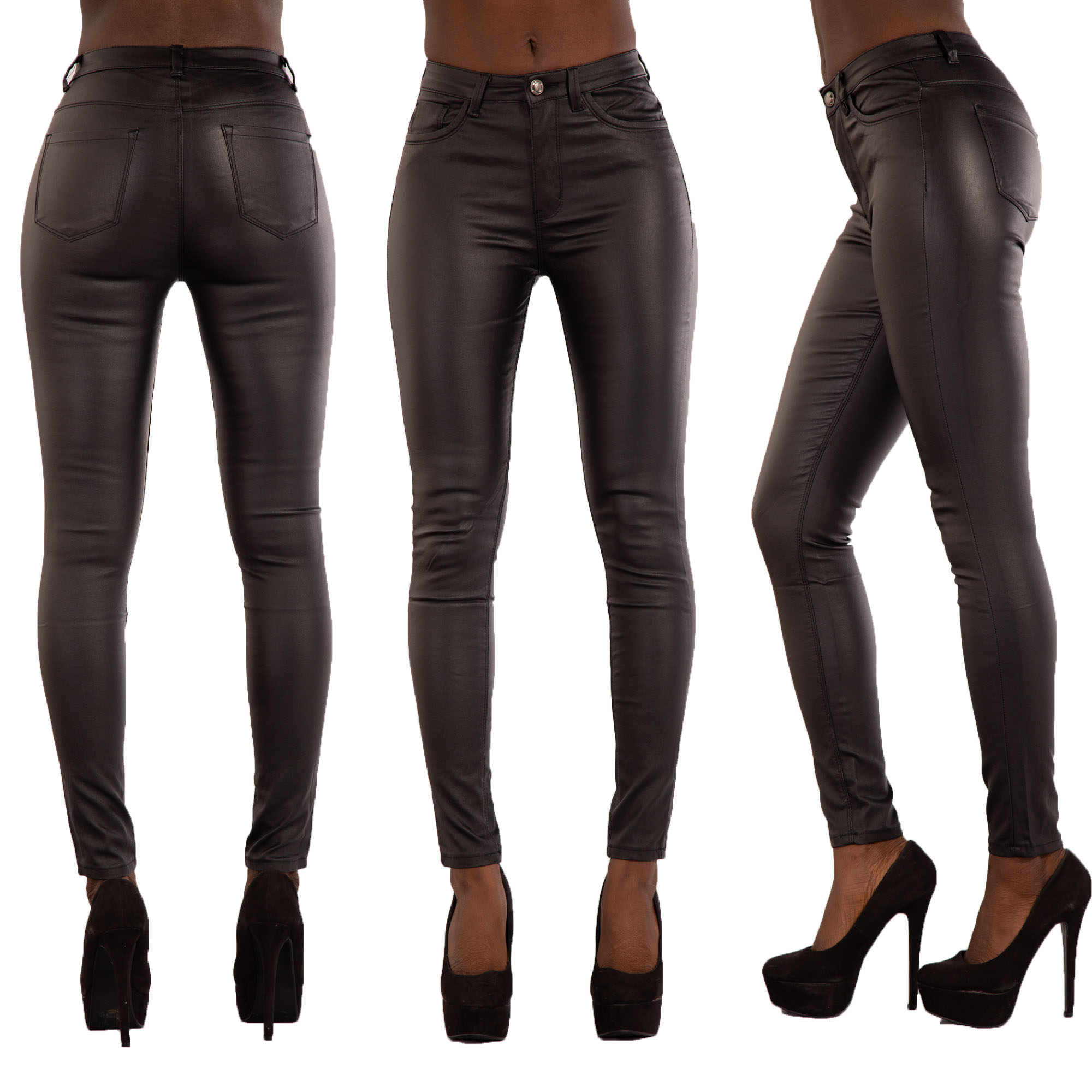 NEW WOMENS LEATHER LOOK JEANS SEXY TROUSERS LADIES BLACK SLIM FIT SIZE 6-14 d48635dd8