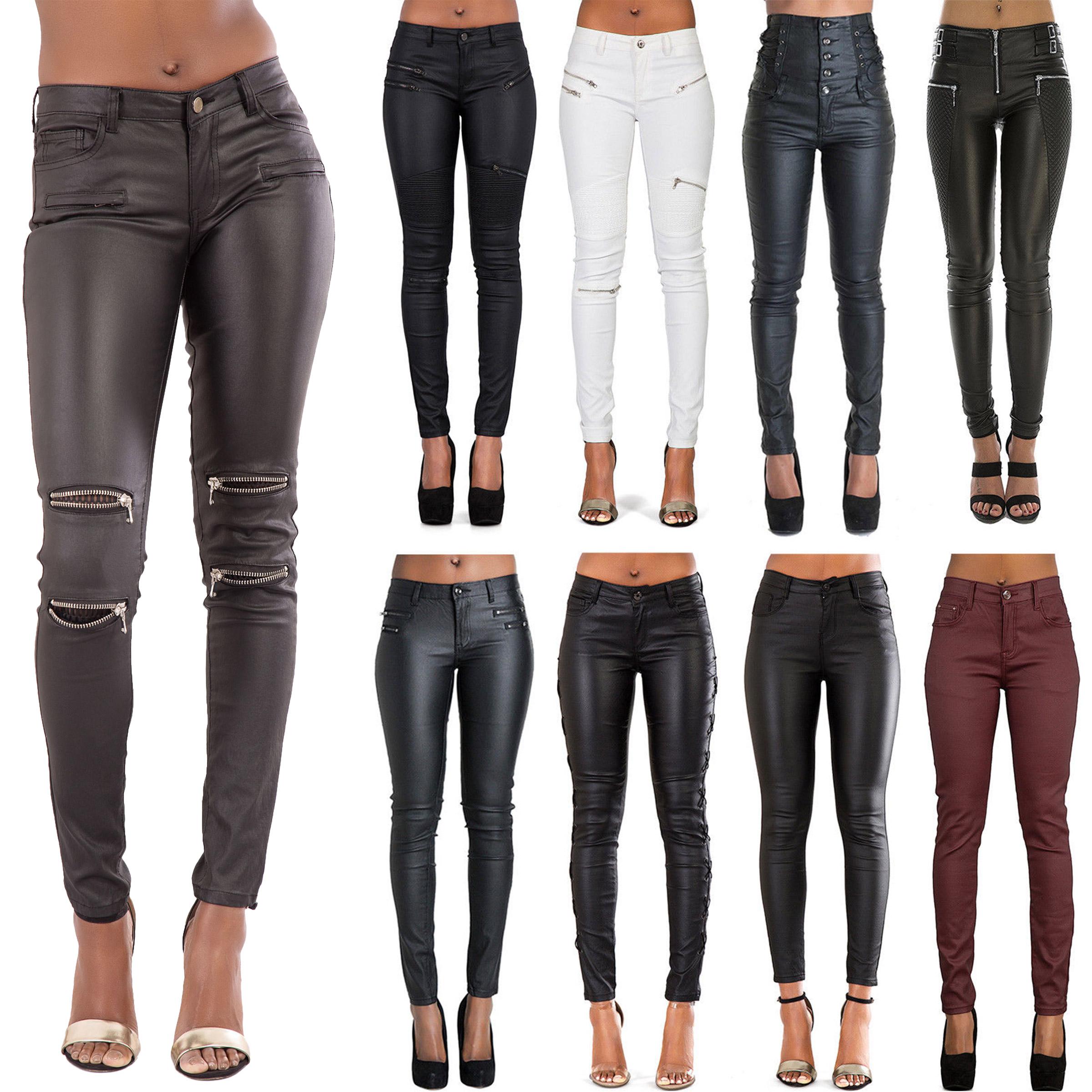 Women/'s Wet Look Skinny Jeans Leopard Look Trouser Ripped Style size 8-14