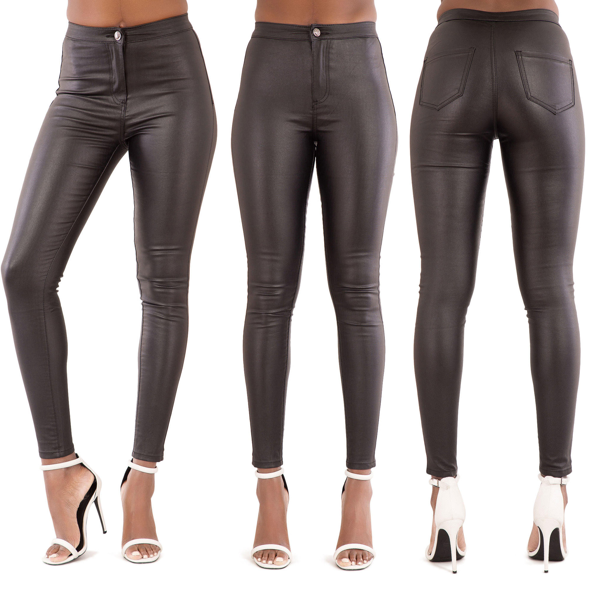 5543efc060f4 NEW WOMENS LEATHER LOOK JEANS SEXY TROUSERS LADIES BLACK SLIM FIT SIZE 6-22