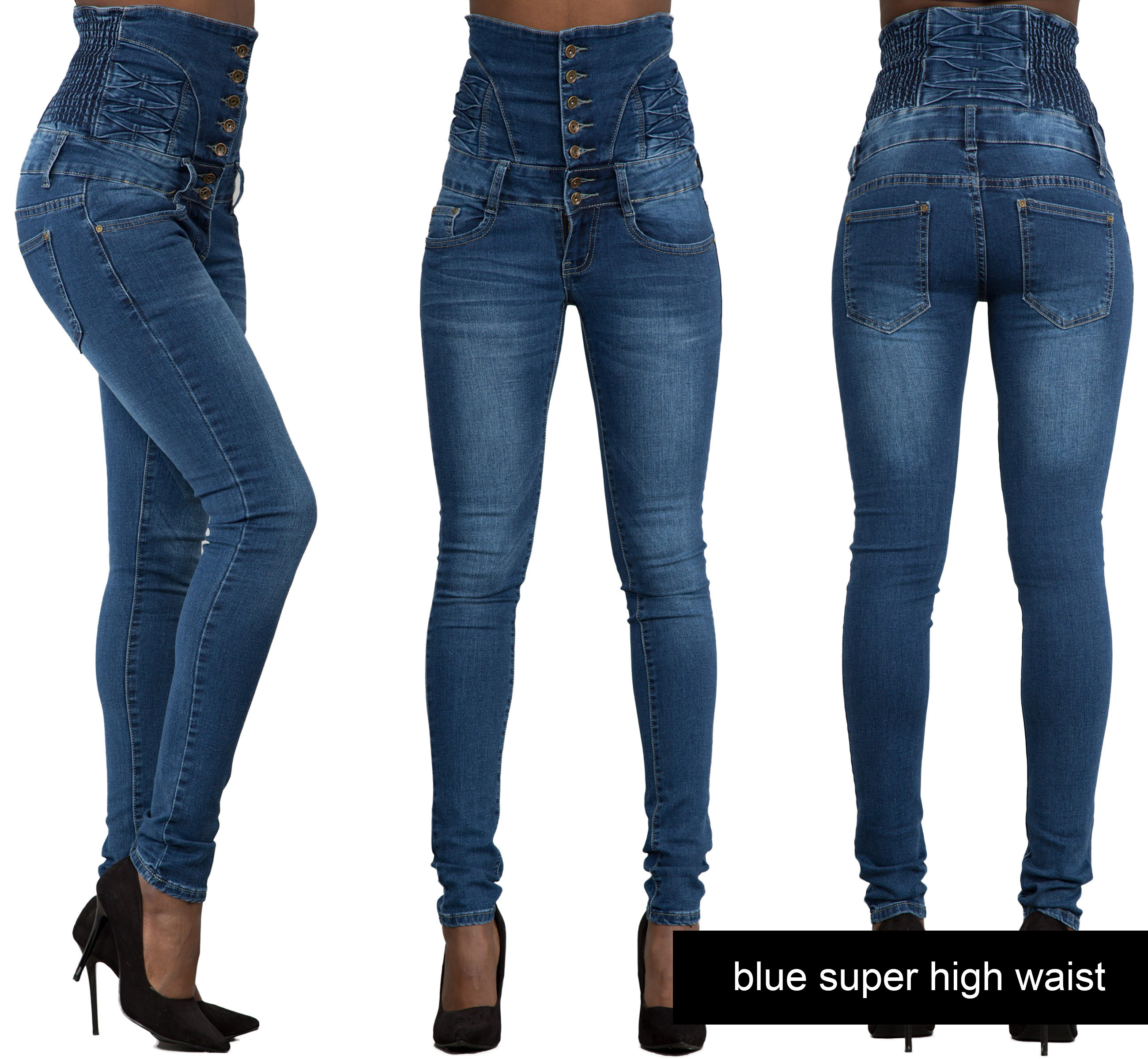 Womens Ladies High Waisted Blue Skinny Fit Jeans Stretch ...
