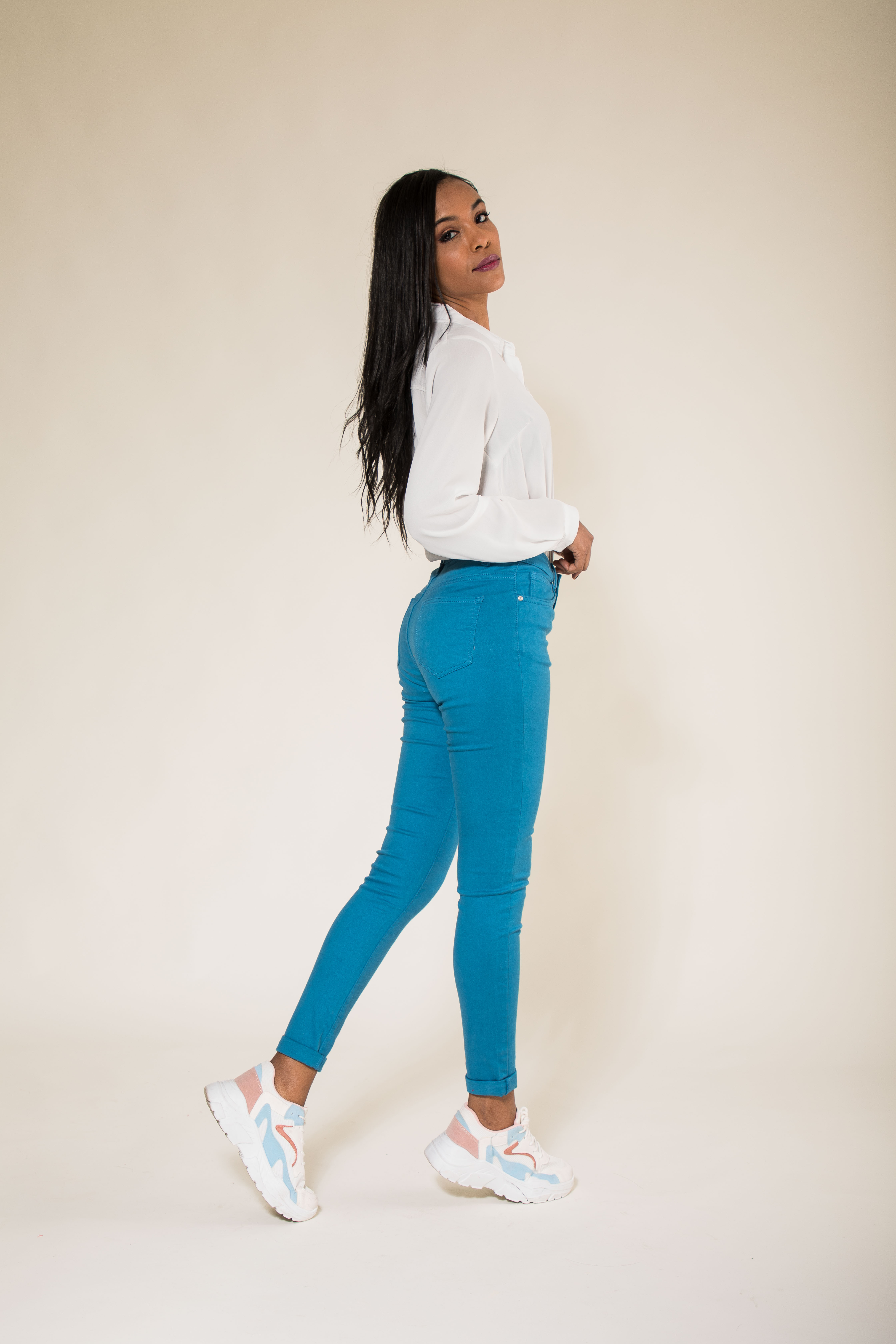 Women-High-Waisted-Jeans-Ladies-Coloured-Stretchy-jeggings-Pants-Size-6-14 thumbnail 14