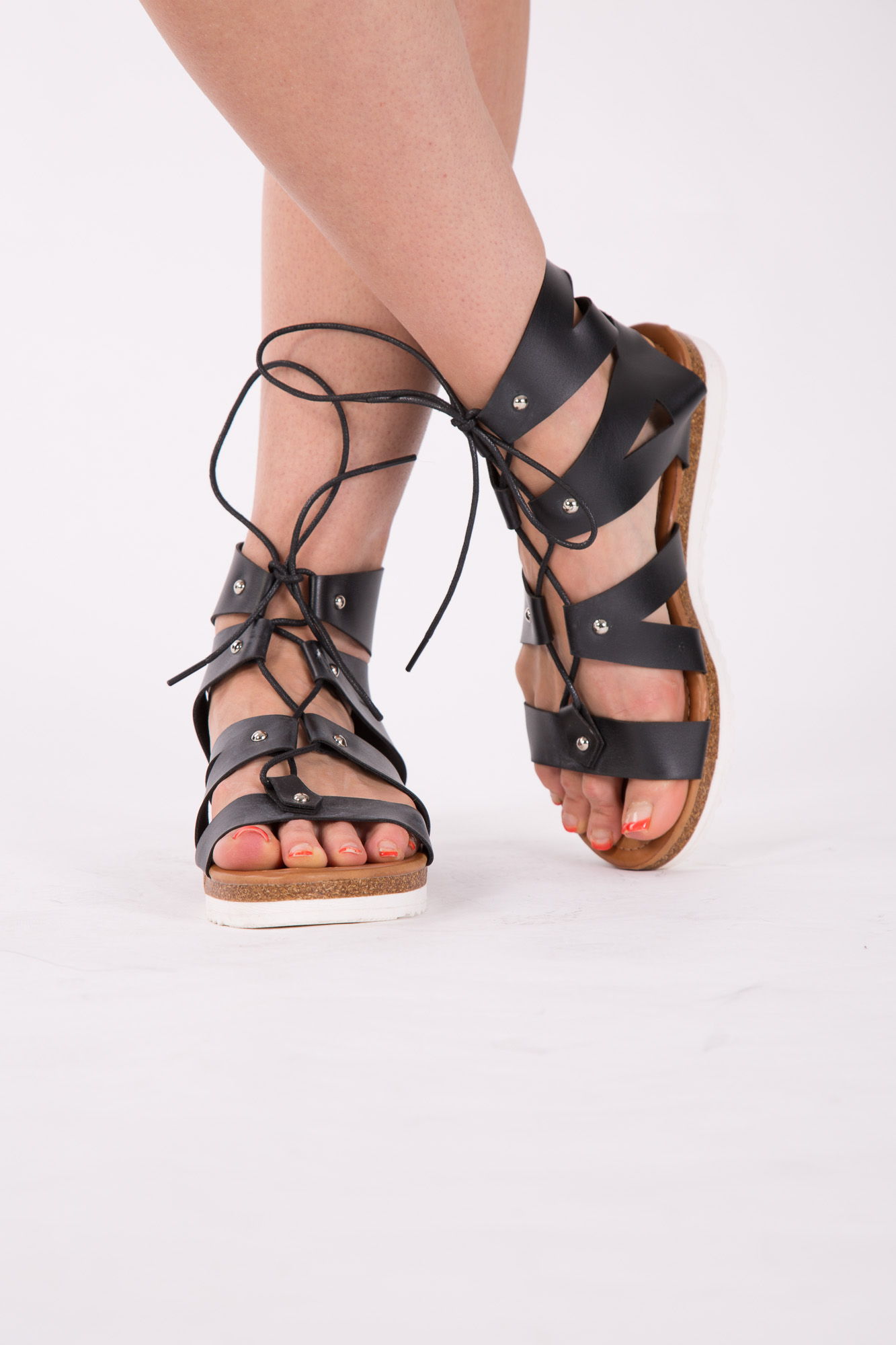 924d6ef066b3 Womens Gladiator Sandals Ladies Flat Strappy Beach Shoes Lace Up ...
