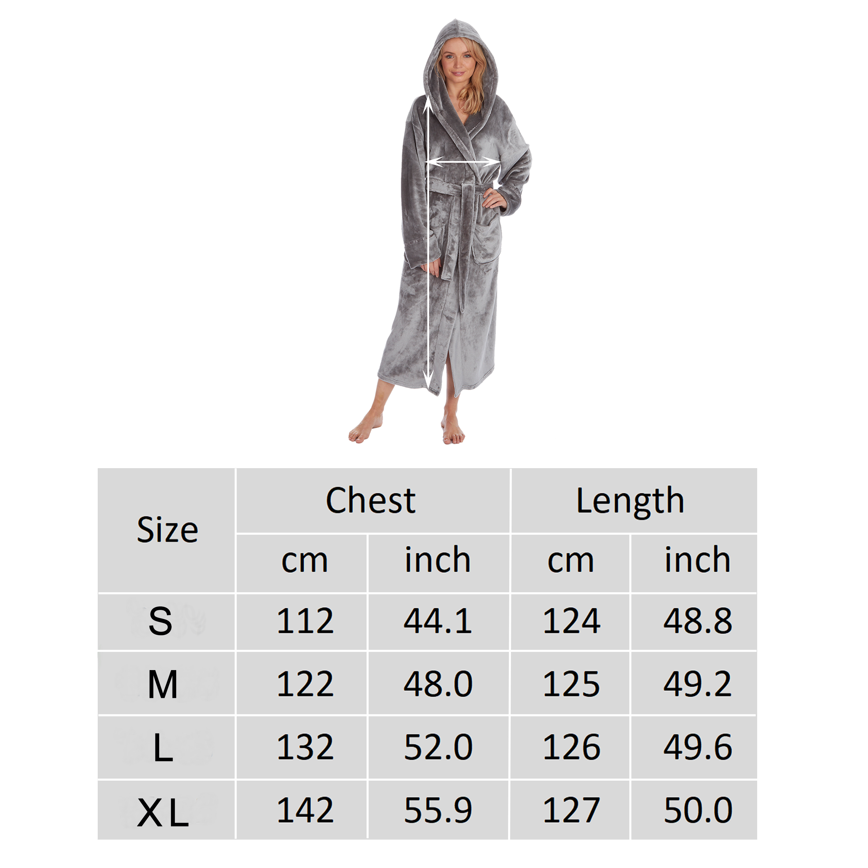 Femme Gris Argent Brillant Robe de Chambre longue Peignoir capuche poches chaud