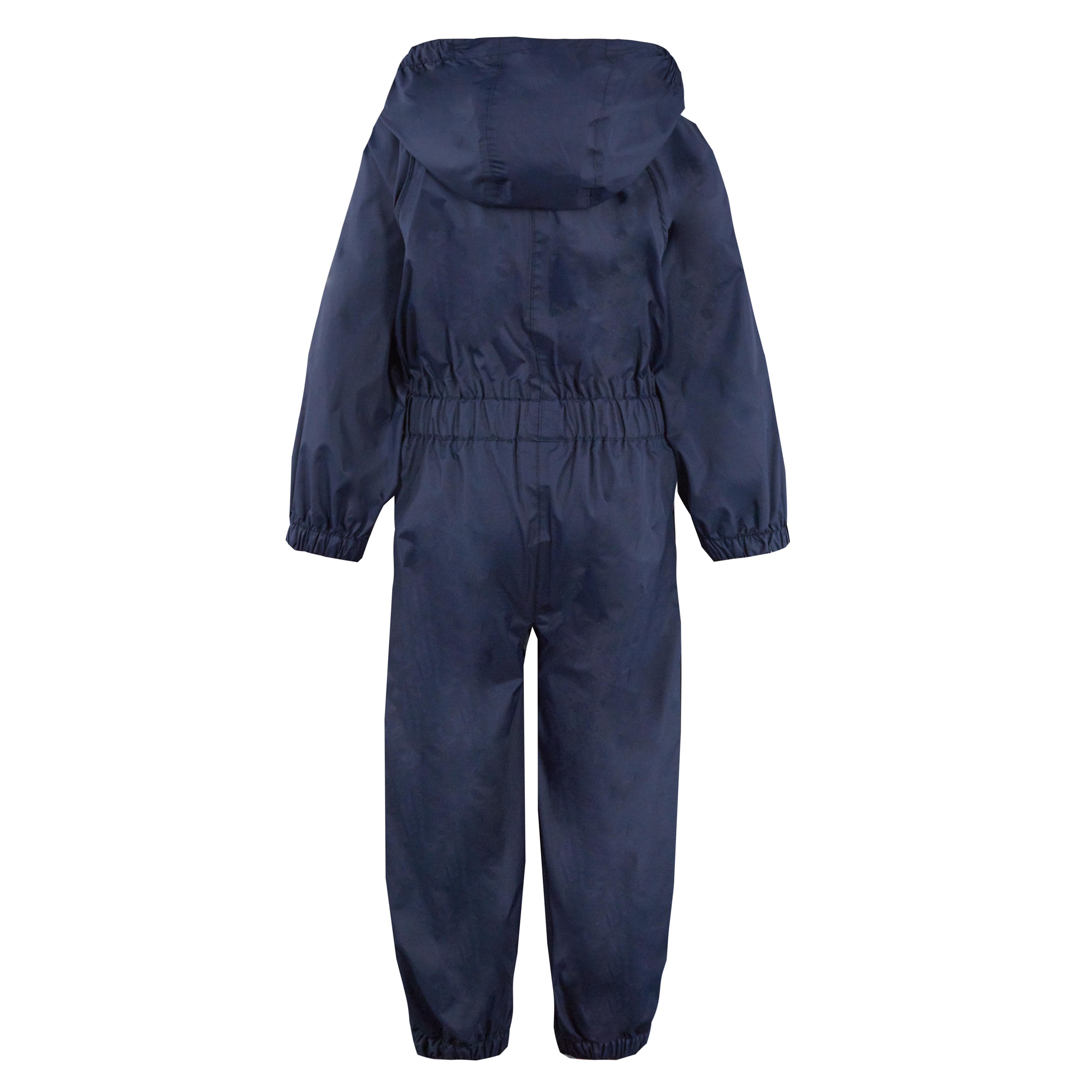 Childs-Enfants-Unisexe-Impermeable-Pluie-Puddle-Combinaison-Tout-en-Un-Leger-Fermeture-Eclair-Set miniature 3