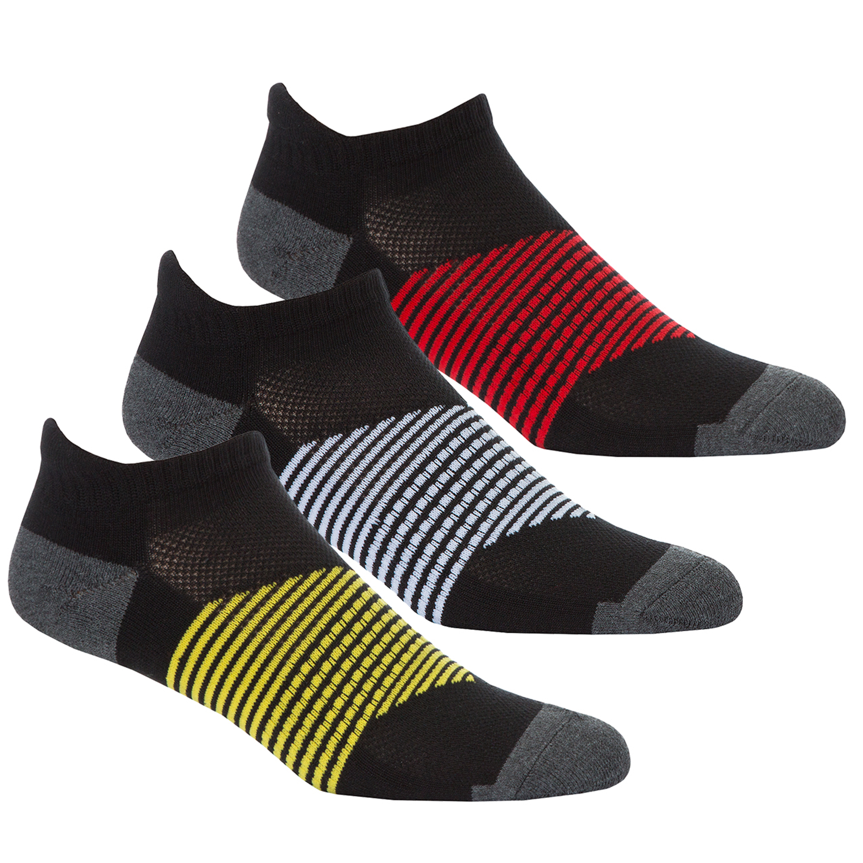 White//Black//Yellow 7-12 US Redtag Mens Sport Trainer//Liner Socks 3 Pairs
