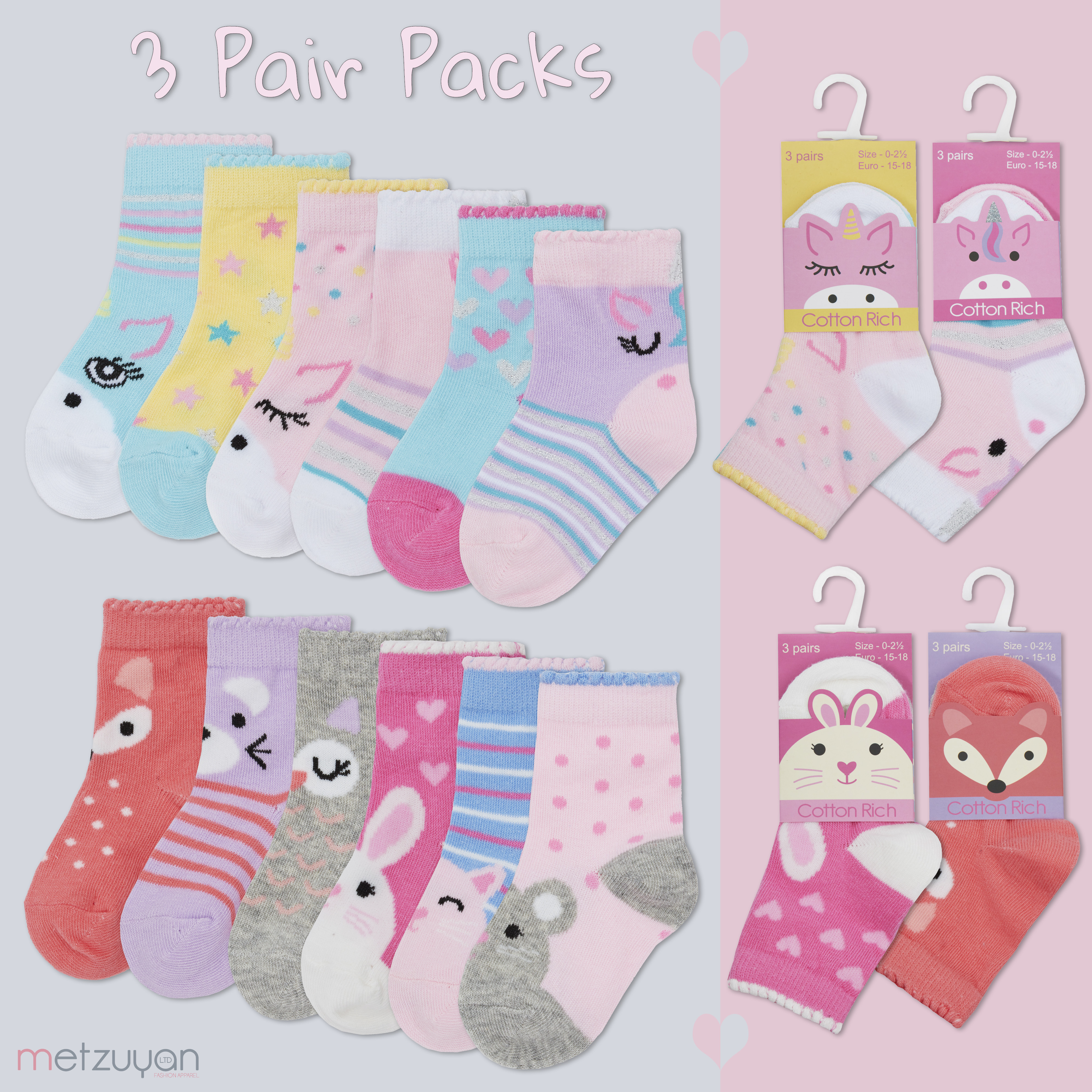 BABY NEWBORN COTTON RICH 3 PACK SOCKS
