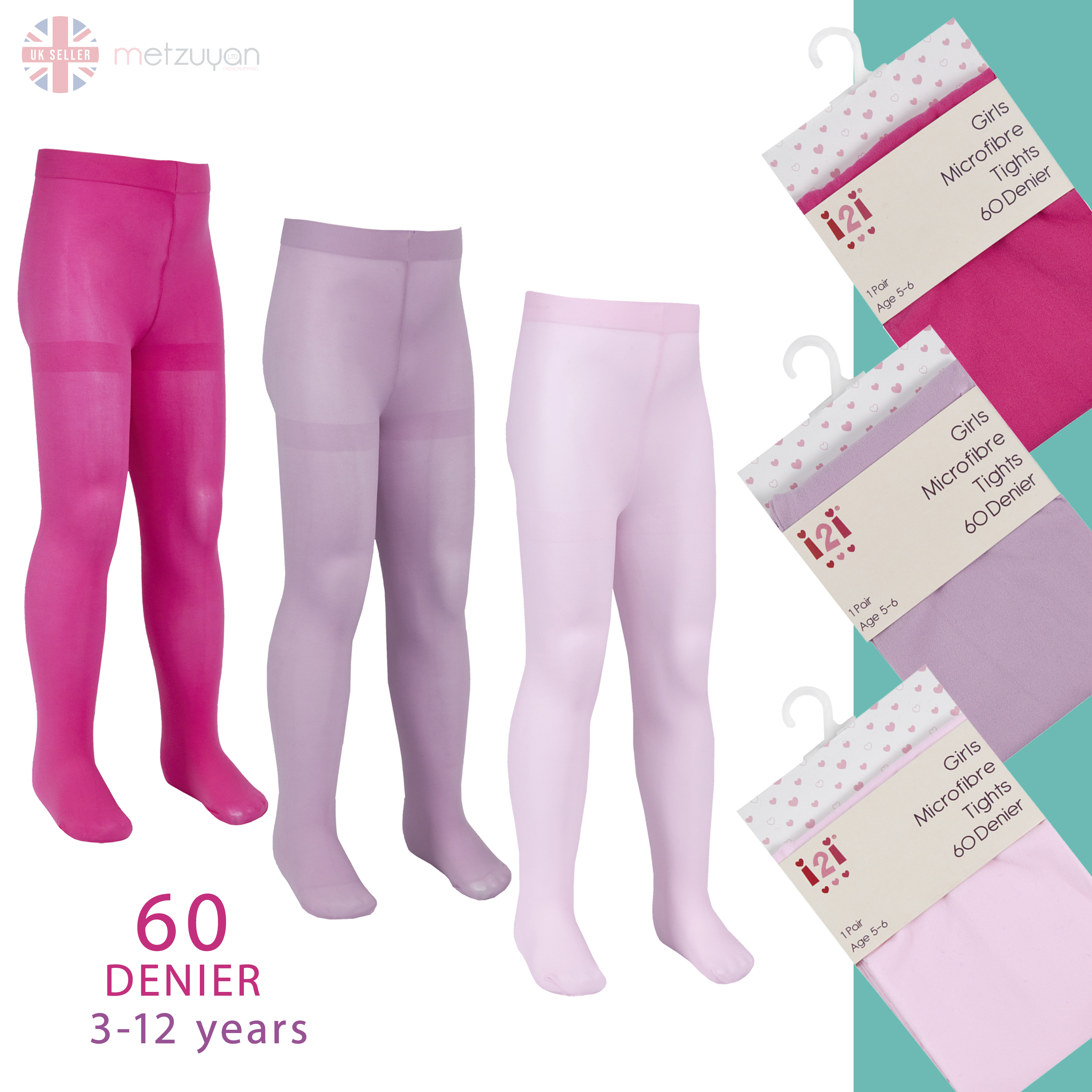 Metzuyan Kids Girls 3 or 6 Pairs 60 Denier Opaque Back To School Soft Microfibre Tights 3-12 Years