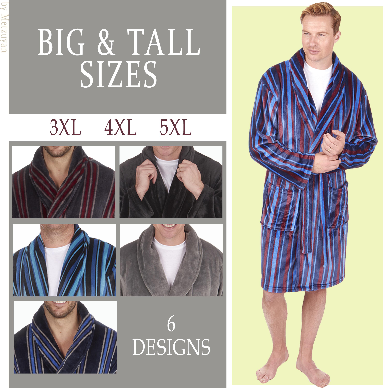 Mens Striped Dressing Gown Robe Shawl Nightwear Plus Size Fleece PIERRE ROCHE