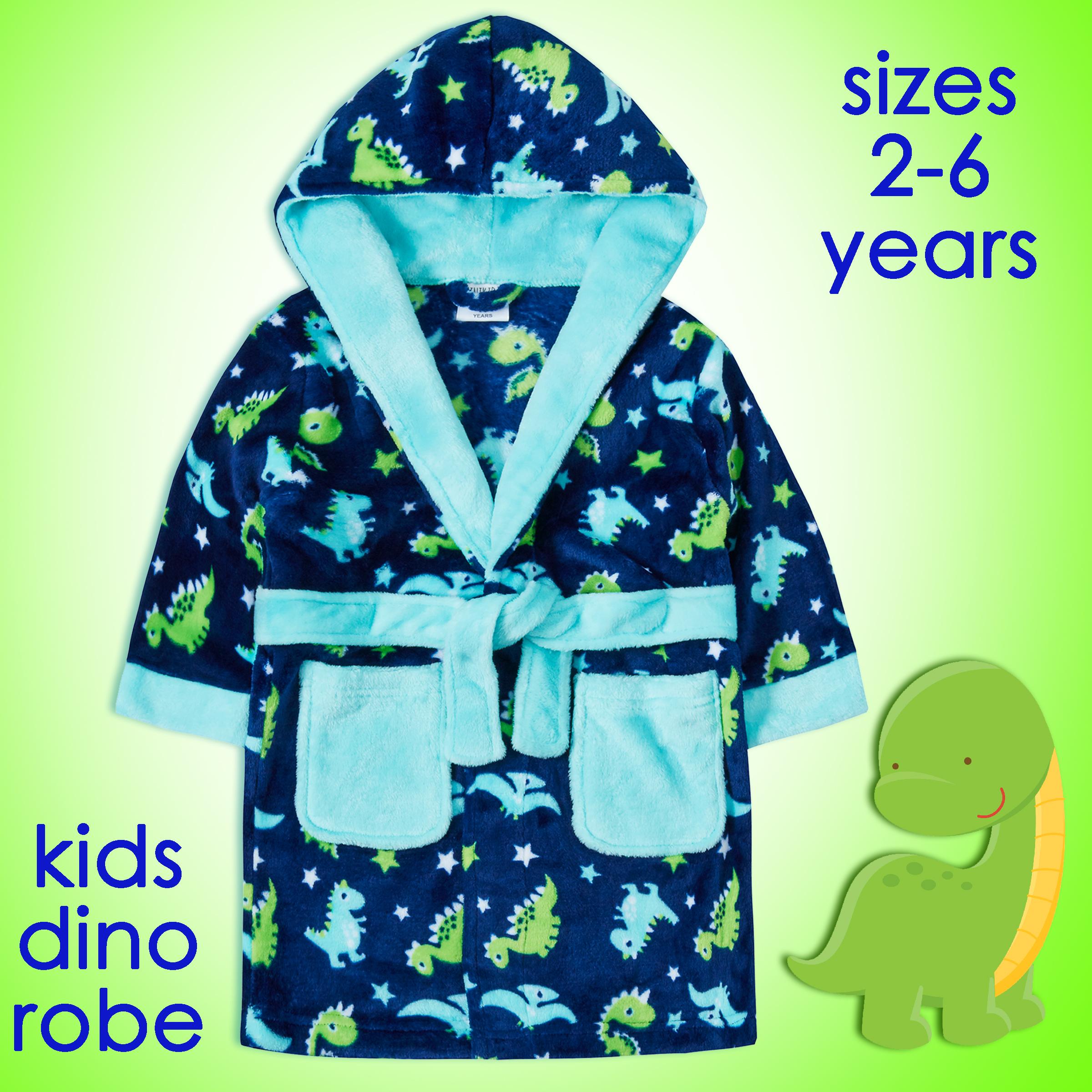 Kids Boys Girls Dinosaurs Robe Dino Pattern Blue Fleece Bathrobe Robe 2 6 Years Ebay