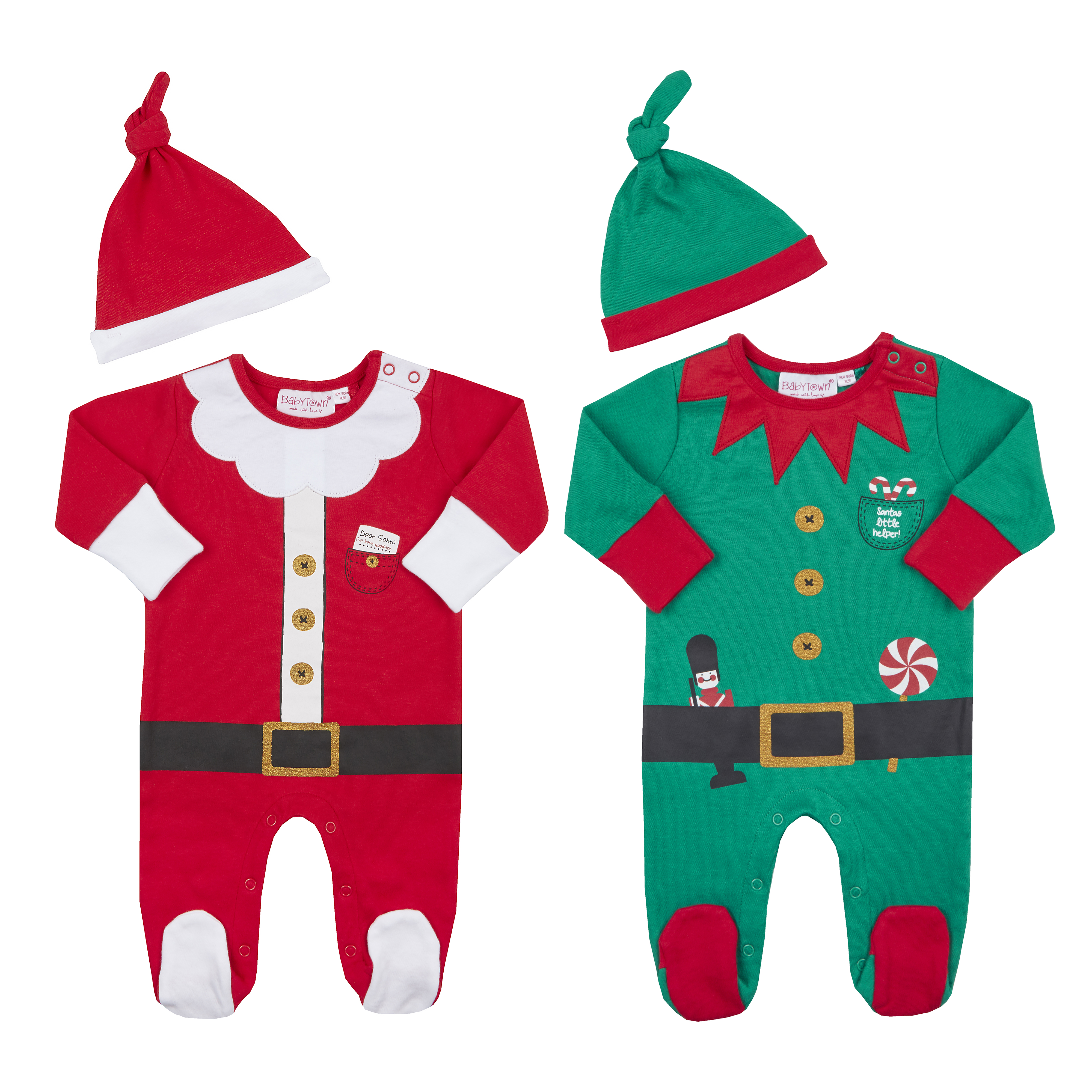 Baby Christmas Cotton Sleepsuit set Elf or Santa with hat