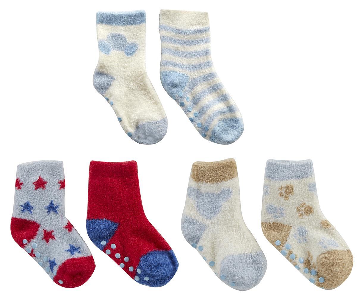 Infant Toddler Baby Boys Socks 4 Pairs Non Skid Anti Slip Grips Warm Cosy 0-5.5