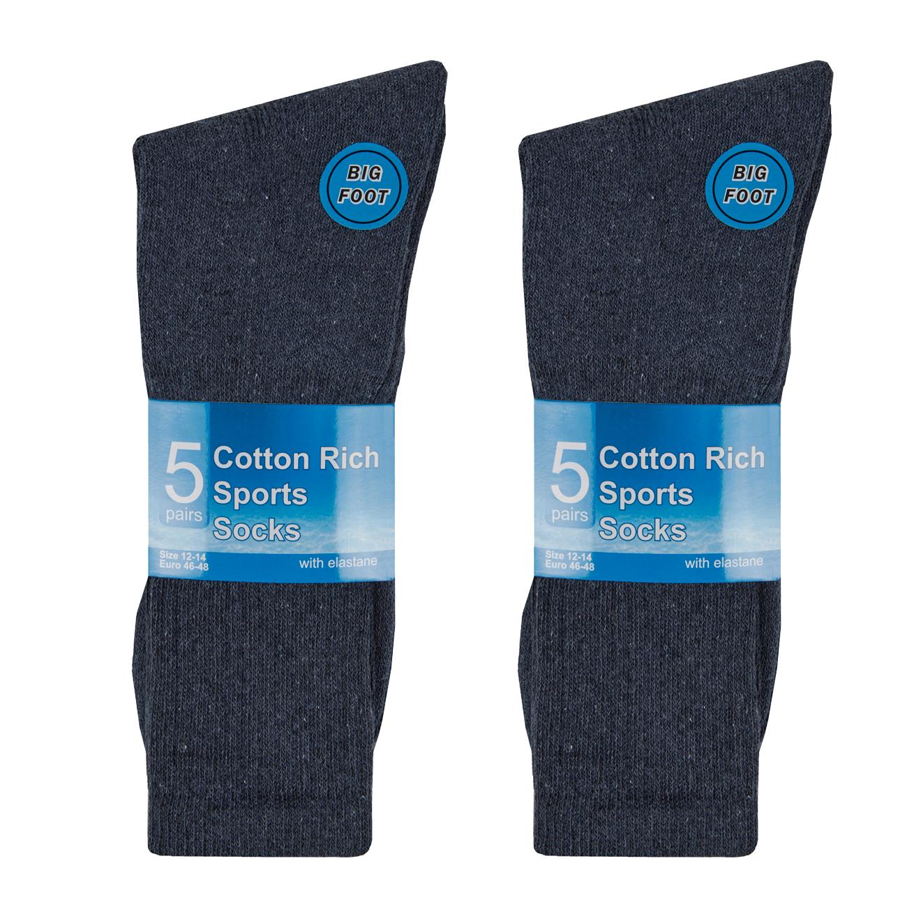 METZUYAN-Mens-10-Pairs-Sports-Socks-Cotton-Rich-Plain-Black-White-Grey-Size-6-11 miniatura 10