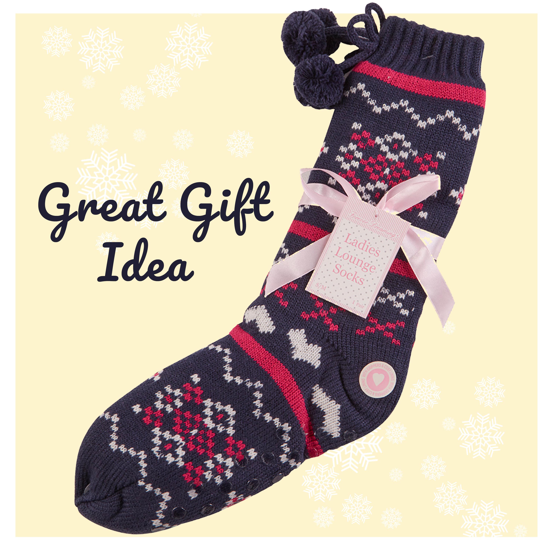 Womens Lounge Chunky Slipper Socks Knitted Bed Socks Anti Slip Grips Floor Socks