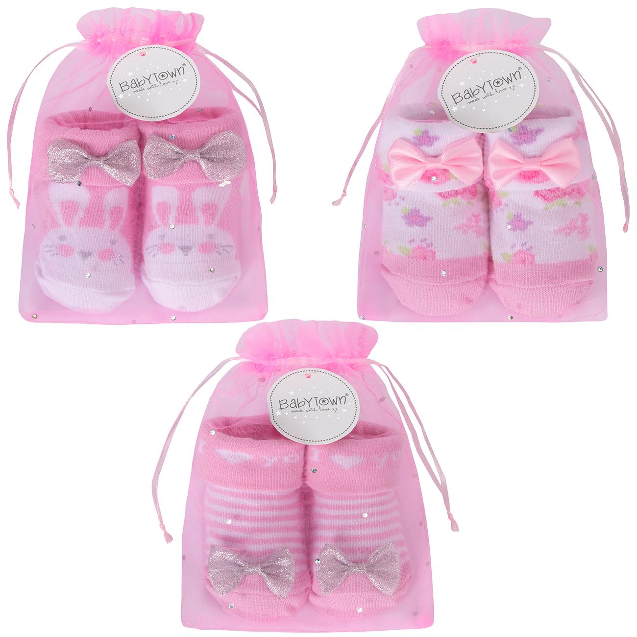 BabyTown Baby Girls Pink Novelty Print Socks /& Headband Set